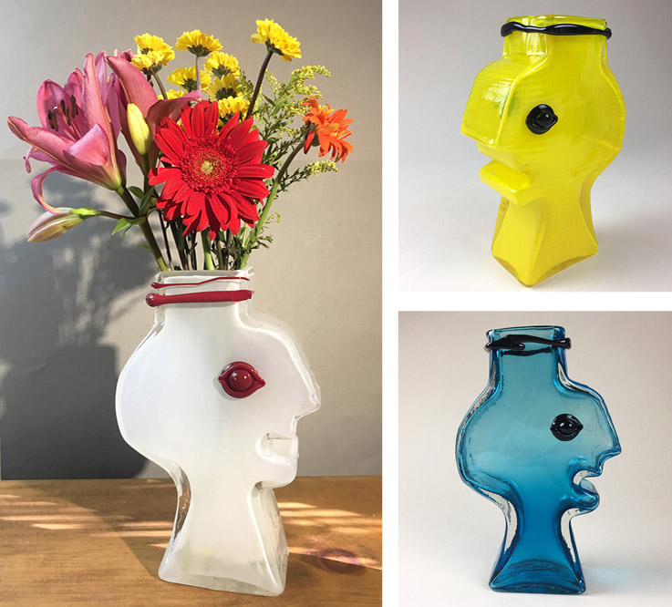 The new Lazarus Face Vase in three color combinations—opal, daffodil, and teal.