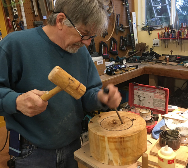 Don Augstein beginning to carve a mold in his shop in Grass Valley.
