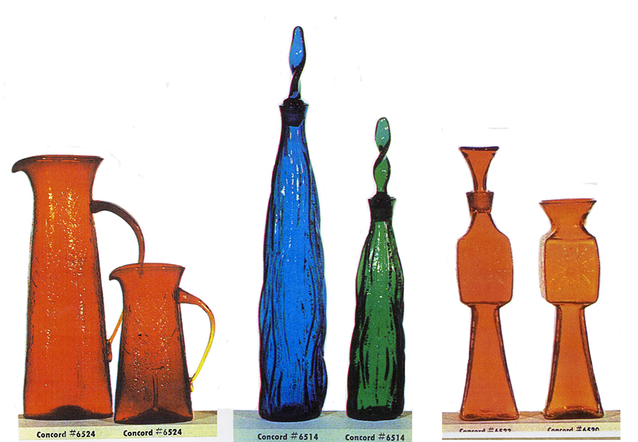 From left, two tangerine pitchers, a blue and a green decanter, and a tangerine decanter and vase, all made in the lost foam process that I created.