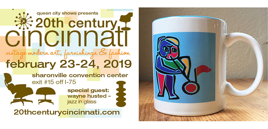 A promotional ad for this year's show, and a special mug that we made. The Jazz in Glass Man is my illustration.
