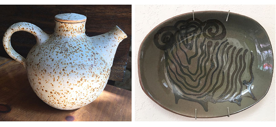 I threw the teapot on the left during that summer with Harding Black. Note the speckled surface typical of Elmendorf clay. The ram platter on the right was also created at the time. (From my private collection.)