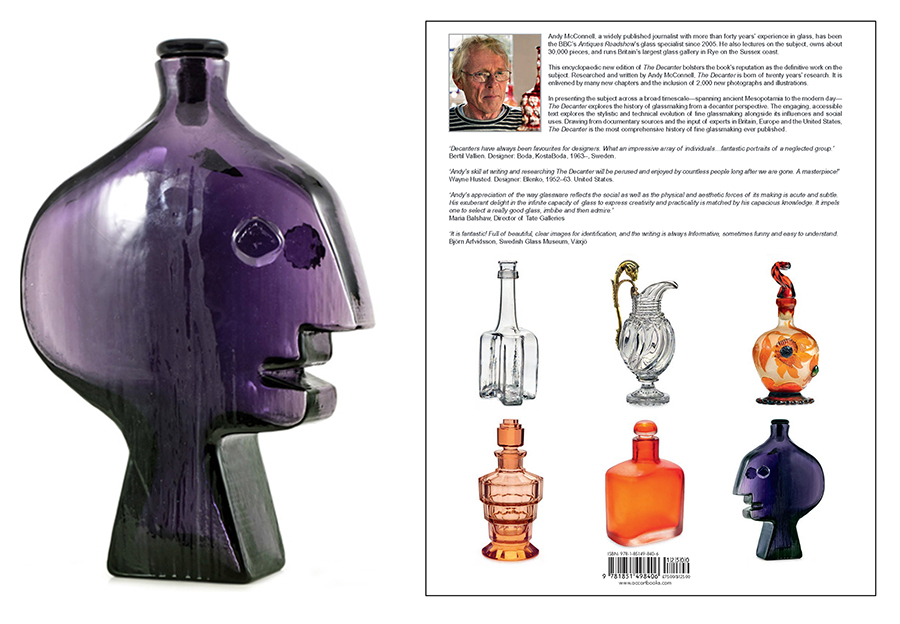 On the left, the rare purple head decanter that showed up at an auction in London. Andy McConnell, who found the decanter is author of THE DECANTER book. He searched for and found me, and added a chapter about my vintage decanter designs for Blenko just before the book went to press.