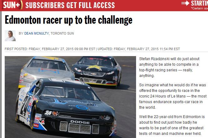 Edmonton Racer Up for the Challenge - February 28, 2015