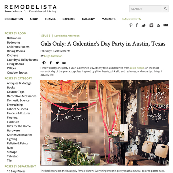 Remodelista – Gals Only: A Galentine's Day Party in Austin, Texas -  Gypsy Floral Austin Texas