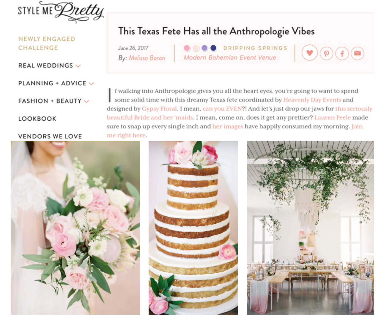 Style Me Pretty | This Texas Fete Has all the Anthropologie Vibes | Gypsy Floral and Events