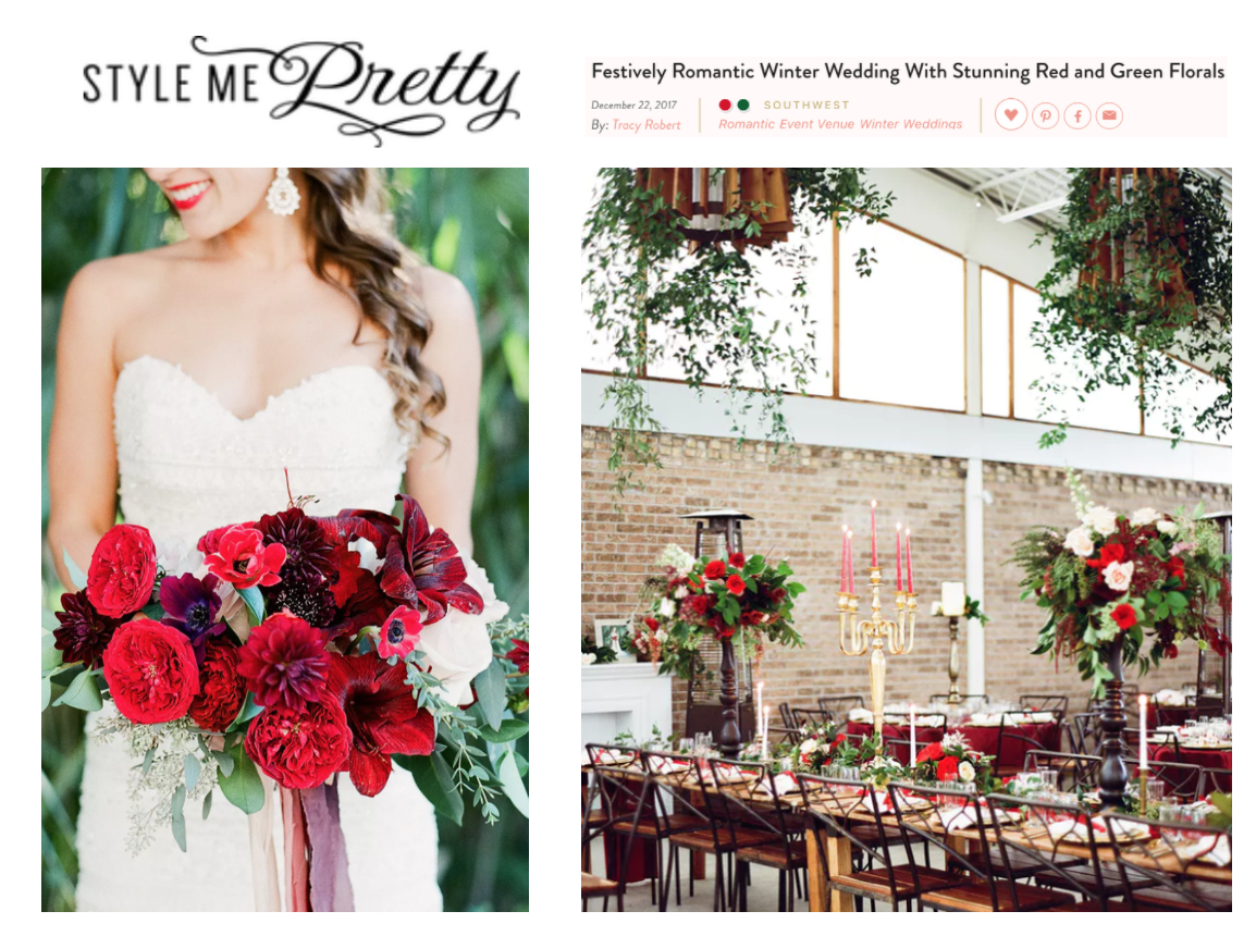 Style Me Pretty | Festively Romantic Winter Wedding With Stunning Red and Green Florals | Gypsy Floral and Events