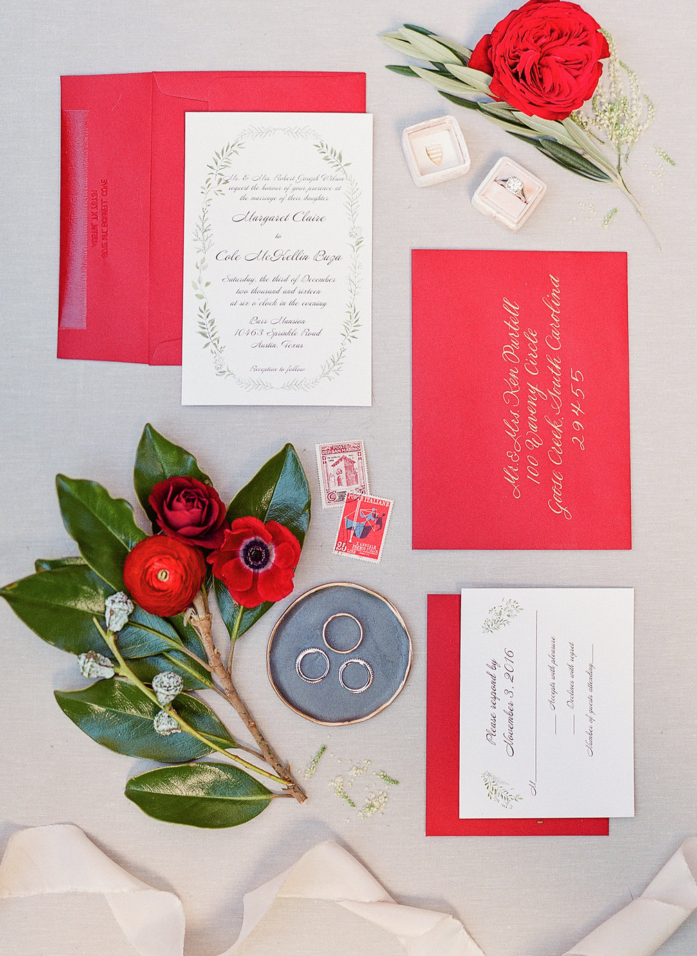Wedding Invitations - Red Accents