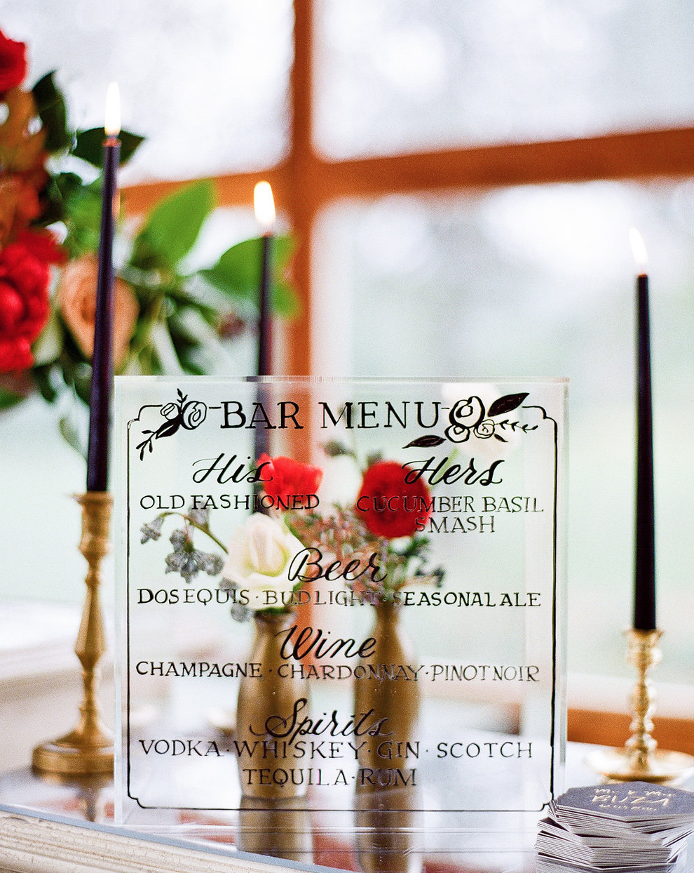 Wedding Bar Menu - Calligraphy