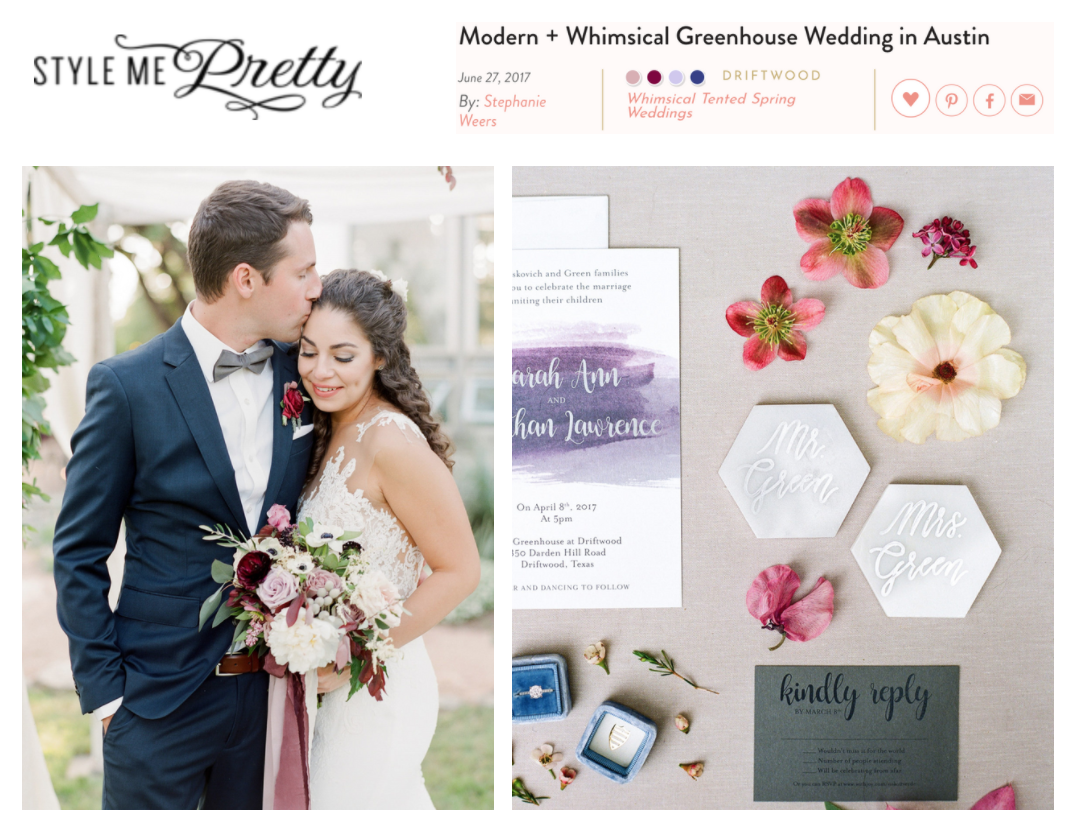 Style Me Pretty | Modern + Whimsical Greenhouse Wedding in Austin | Gypsy Floral and Events