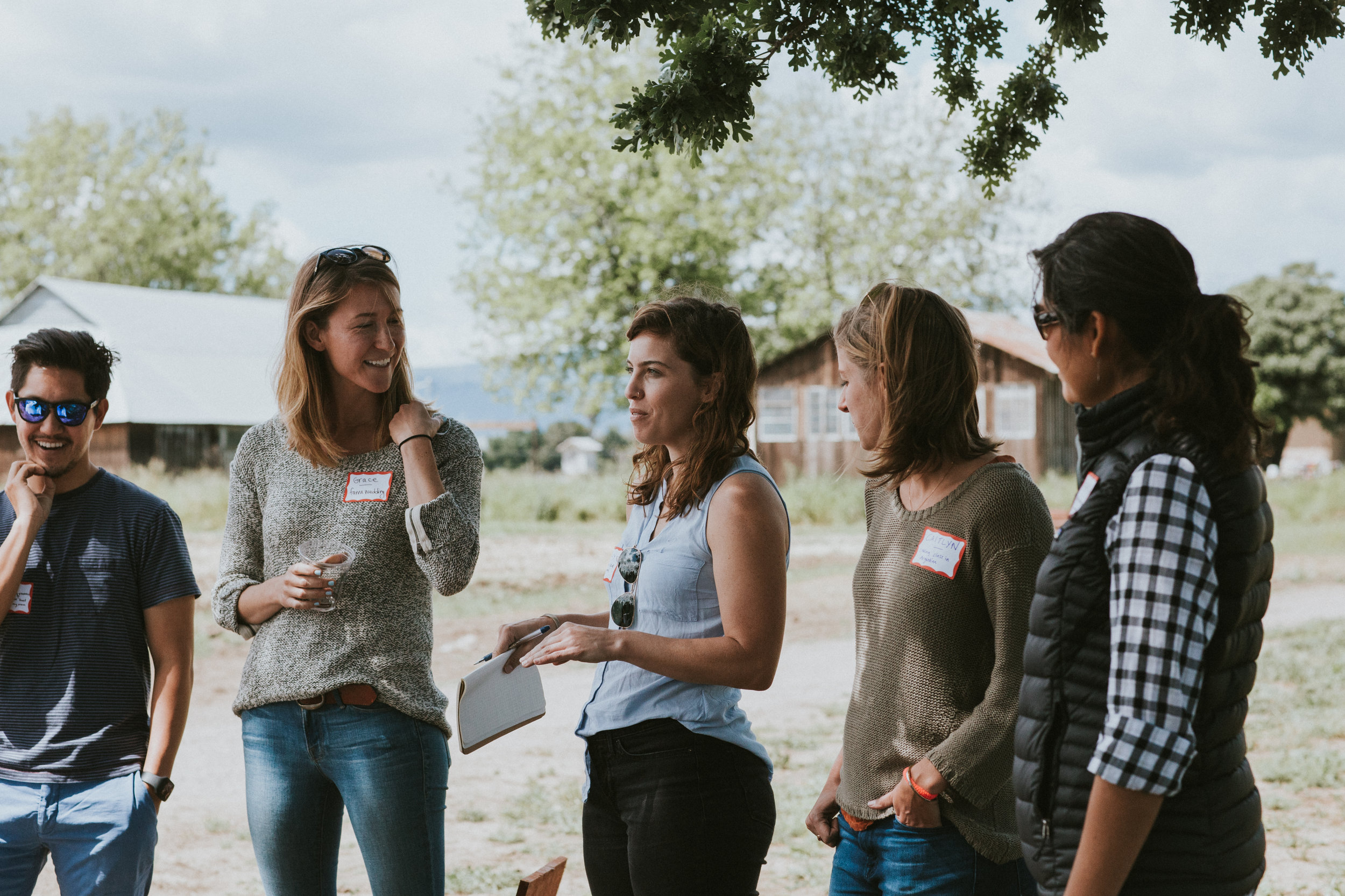 Sharing food stories at the inaugural Farmcation event. We found through our interviews that people were eager to share their stories of food and community, so we decided to build this story-sharing into the event itself to help build community and personalize the experience.