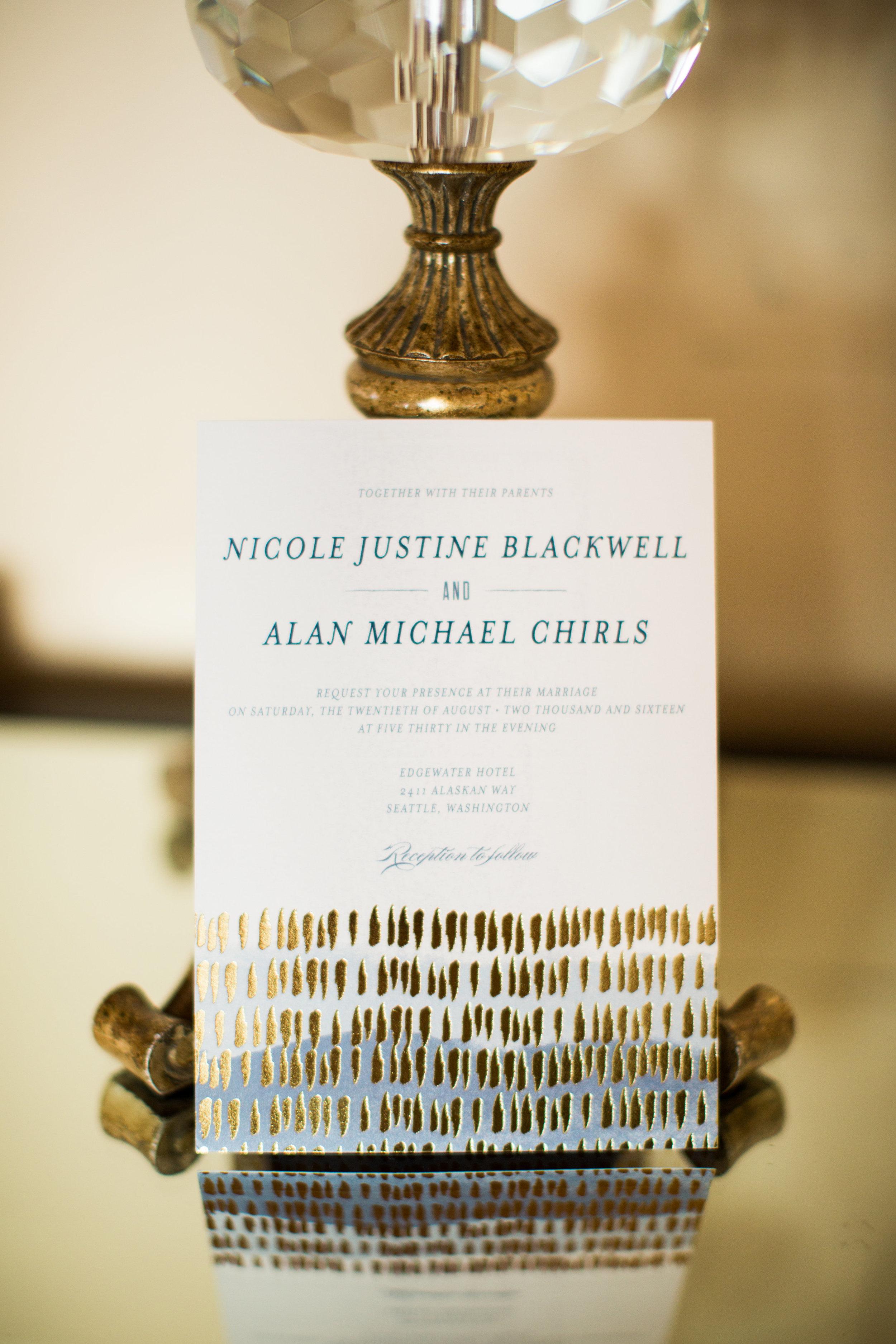 Seattle Wedding Planner, Wedding Wise | Ciccarelli Photography | Edgewater Hotel Wedding | Navy and Gold Wedding Invitation