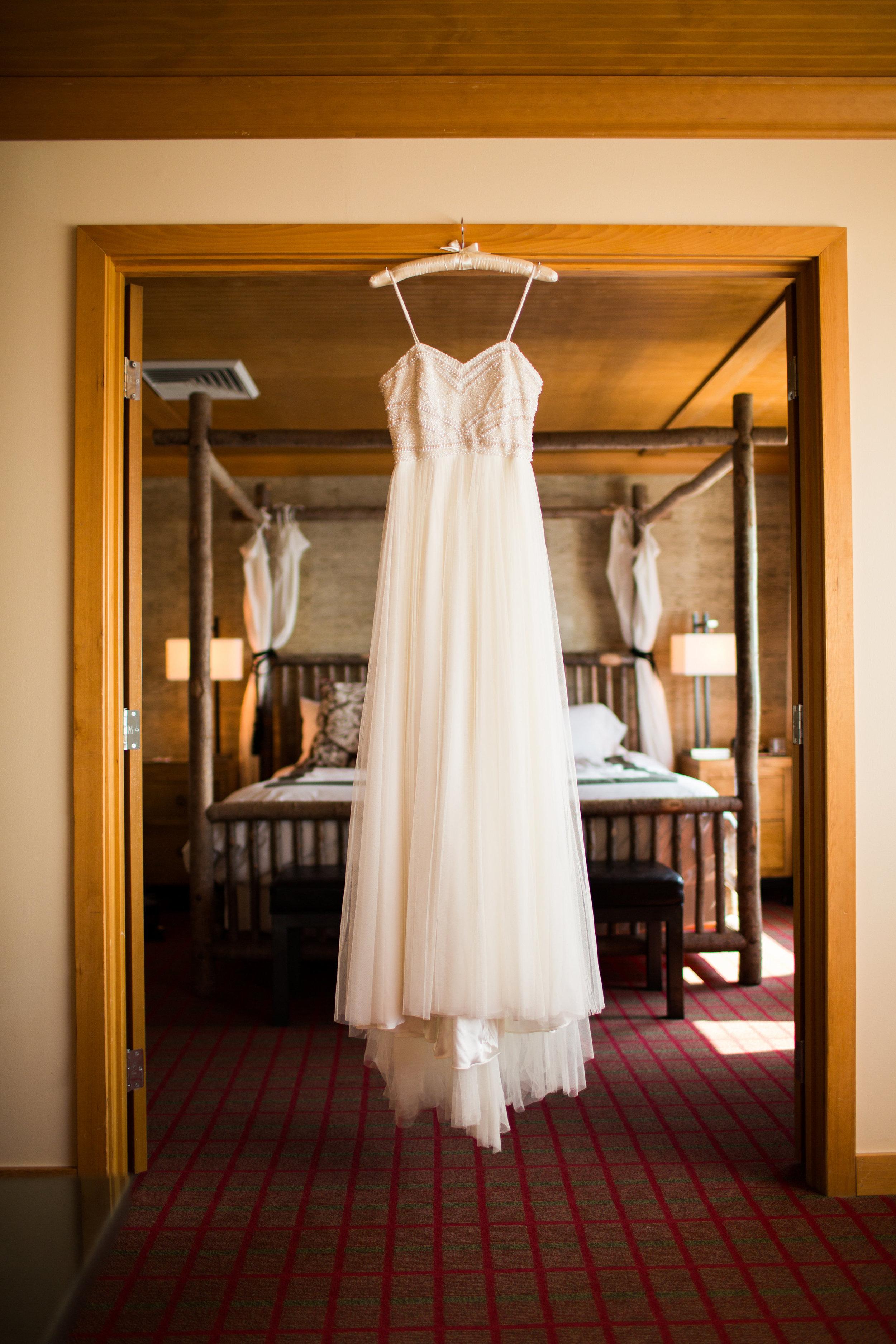 Seattle Wedding Planner, Wedding Wise | Ciccarelli Photography | Edgewater Hotel Wedding | Wedding Dress Shot
