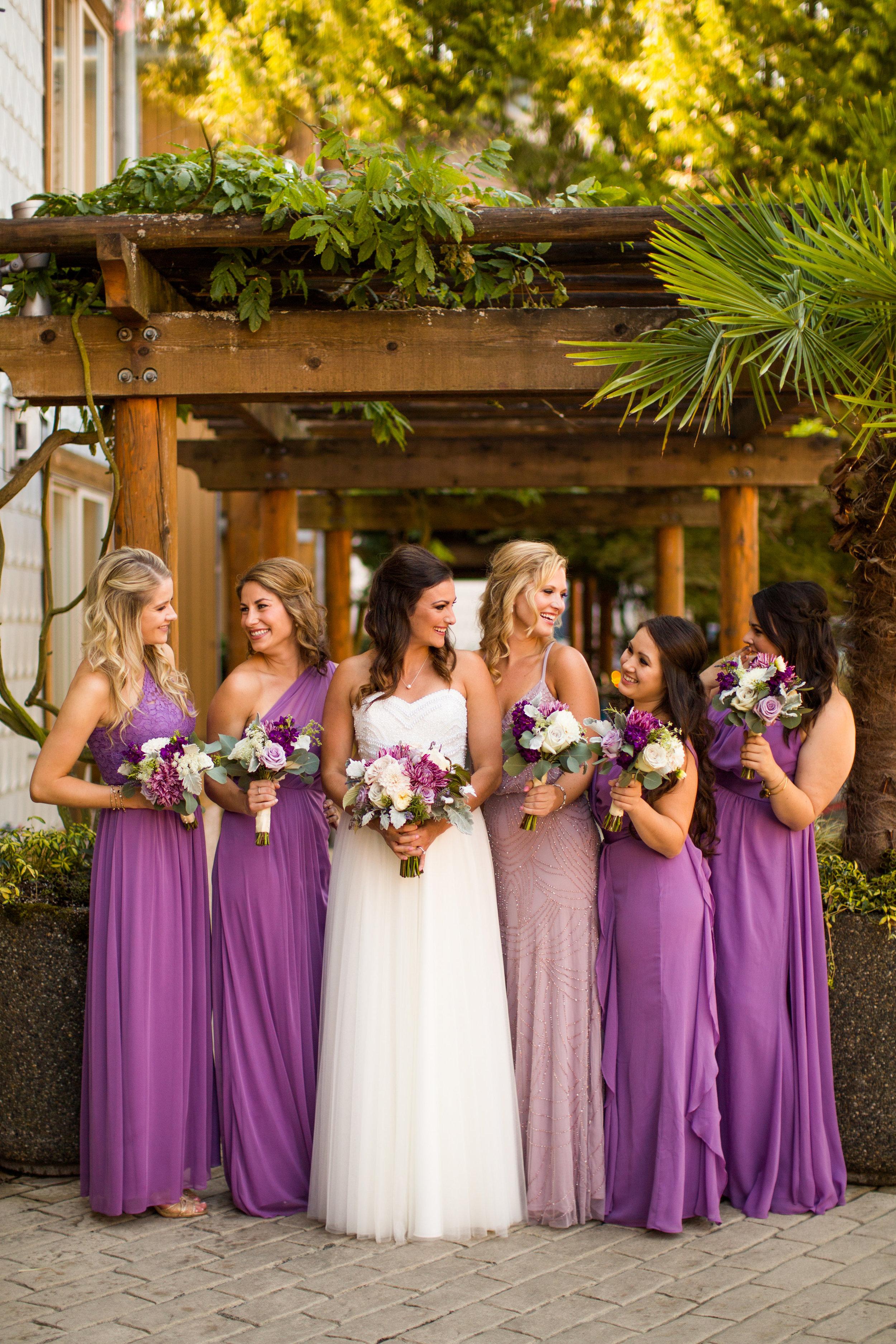 Seattle Wedding Planner, Wedding Wise | Ciccarelli Photography | Edgewater Hotel Wedding | David's Bridal bridesmaids dresses in wisteria purple
