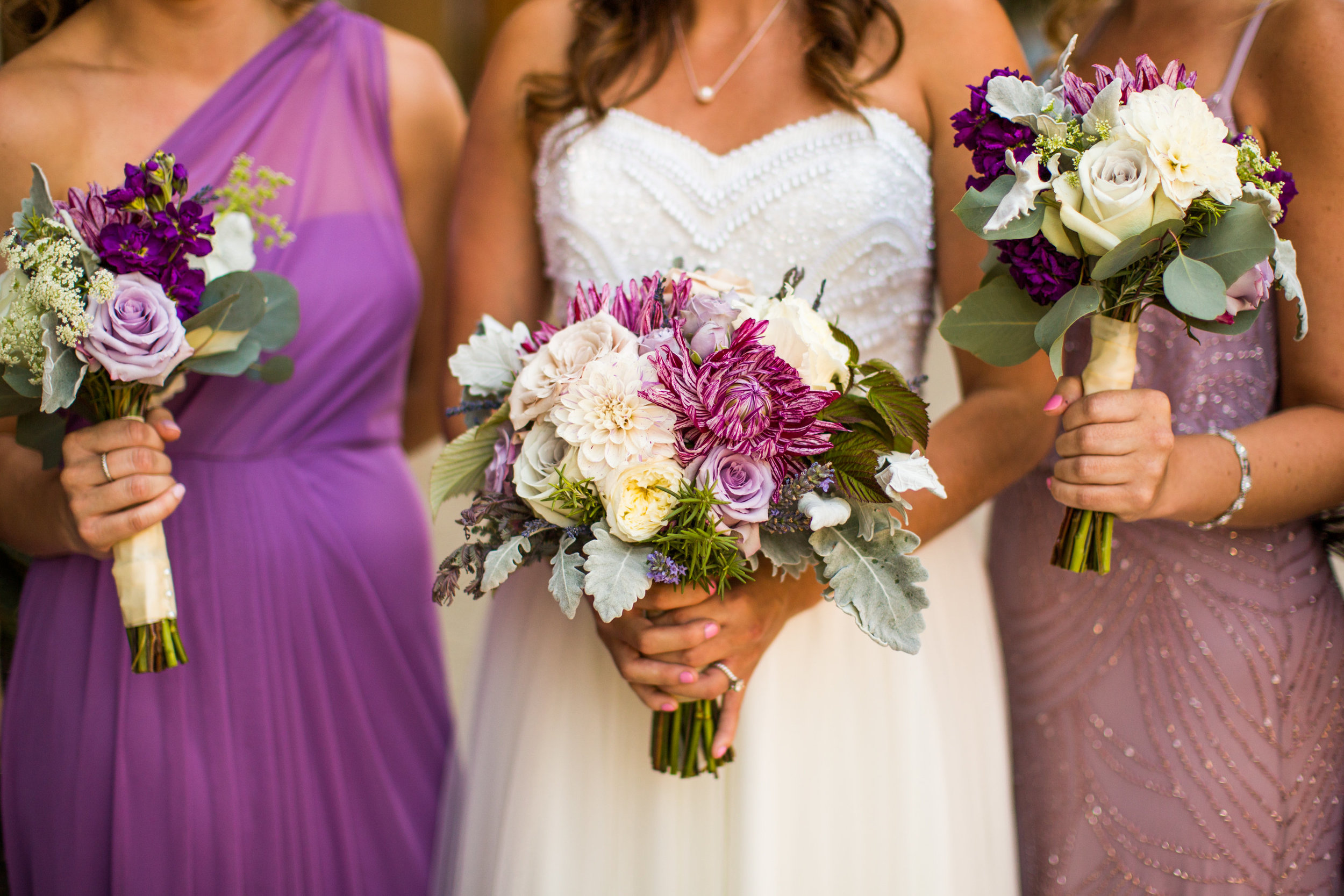 Seattle Wedding Planner, Wedding Wise | Ciccarelli Photography | Edgewater Hotel Wedding | Purple and cream bridesmaids bouquets