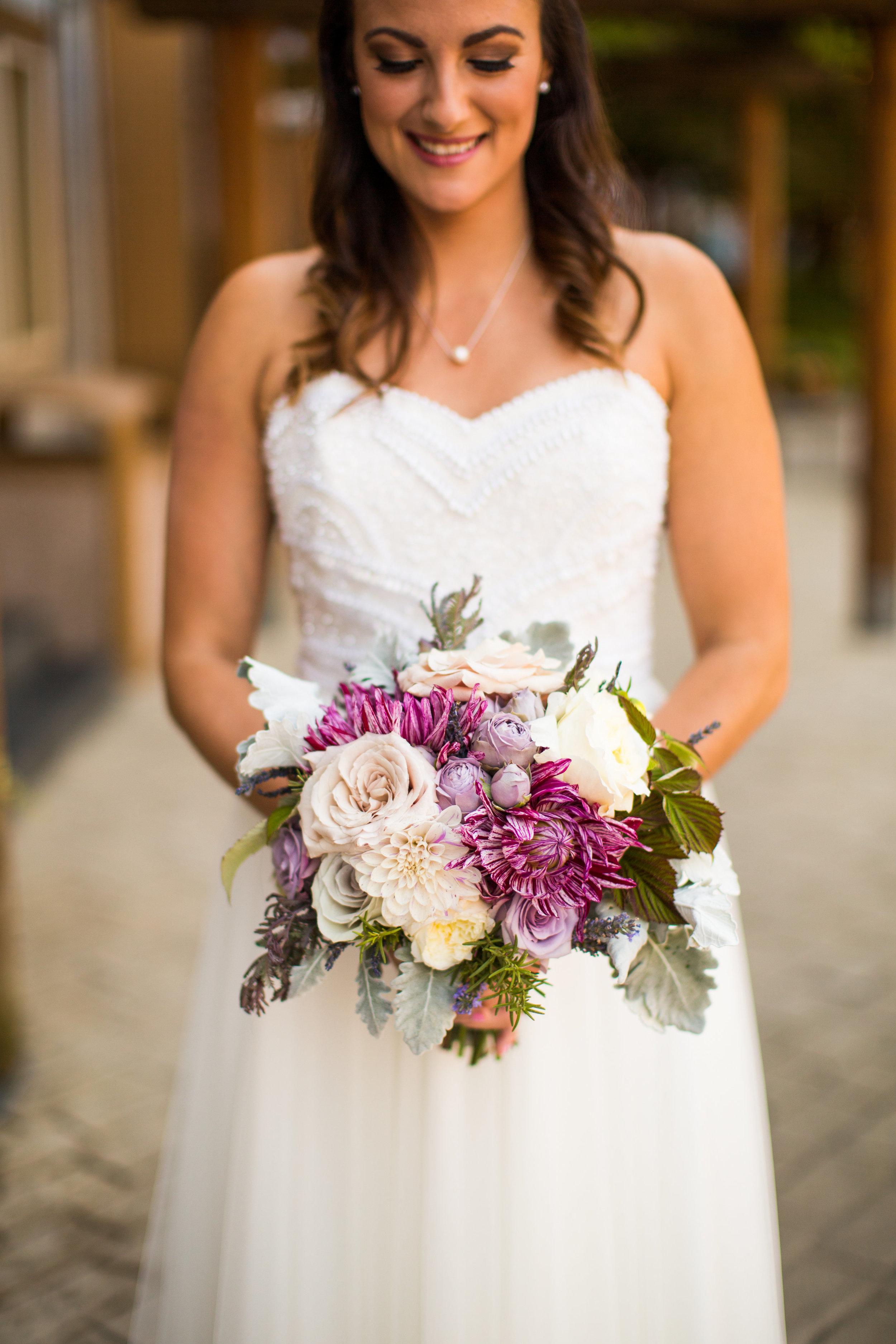 Seattle Wedding Planner, Wedding Wise | Ciccarelli Photography | Edgewater Hotel Wedding | Purple and cream wedding bouquet | Bridal bouquet