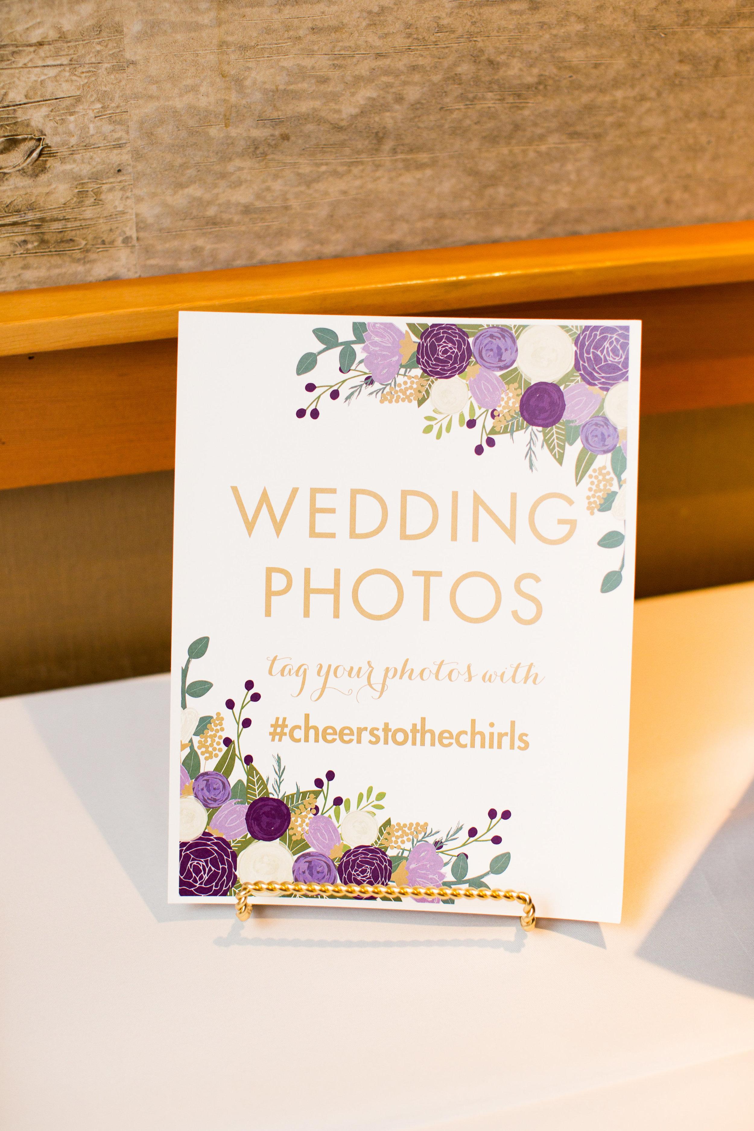 Seattle Wedding Planner, Wedding Wise | Ciccarelli Photography | Edgewater Hotel Wedding | Wedding hashtag sign
