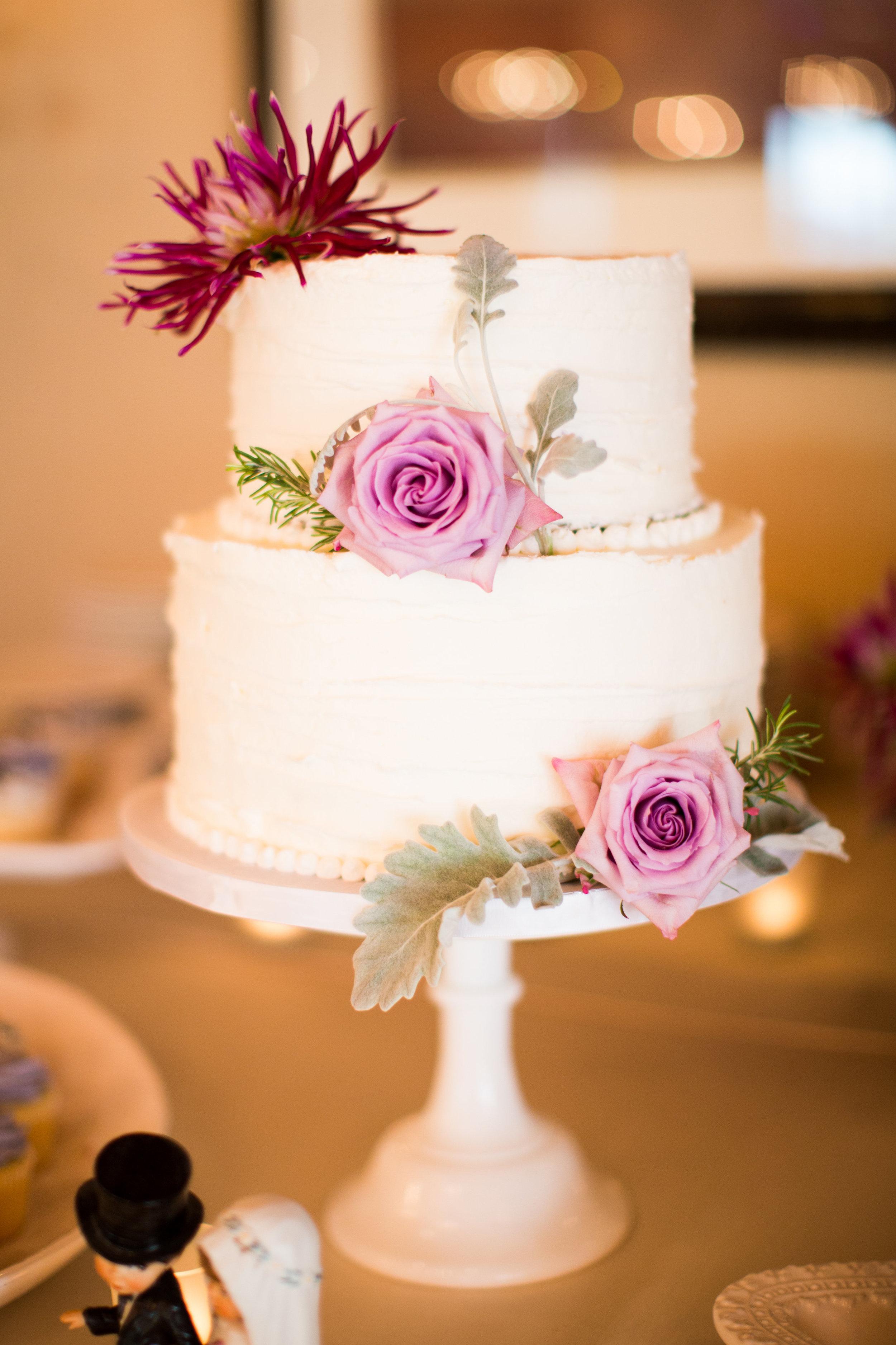 Seattle Wedding Planner, Wedding Wise | Ciccarelli Photography | Edgewater Hotel Wedding | Buttercream Cake with Purple Flowers