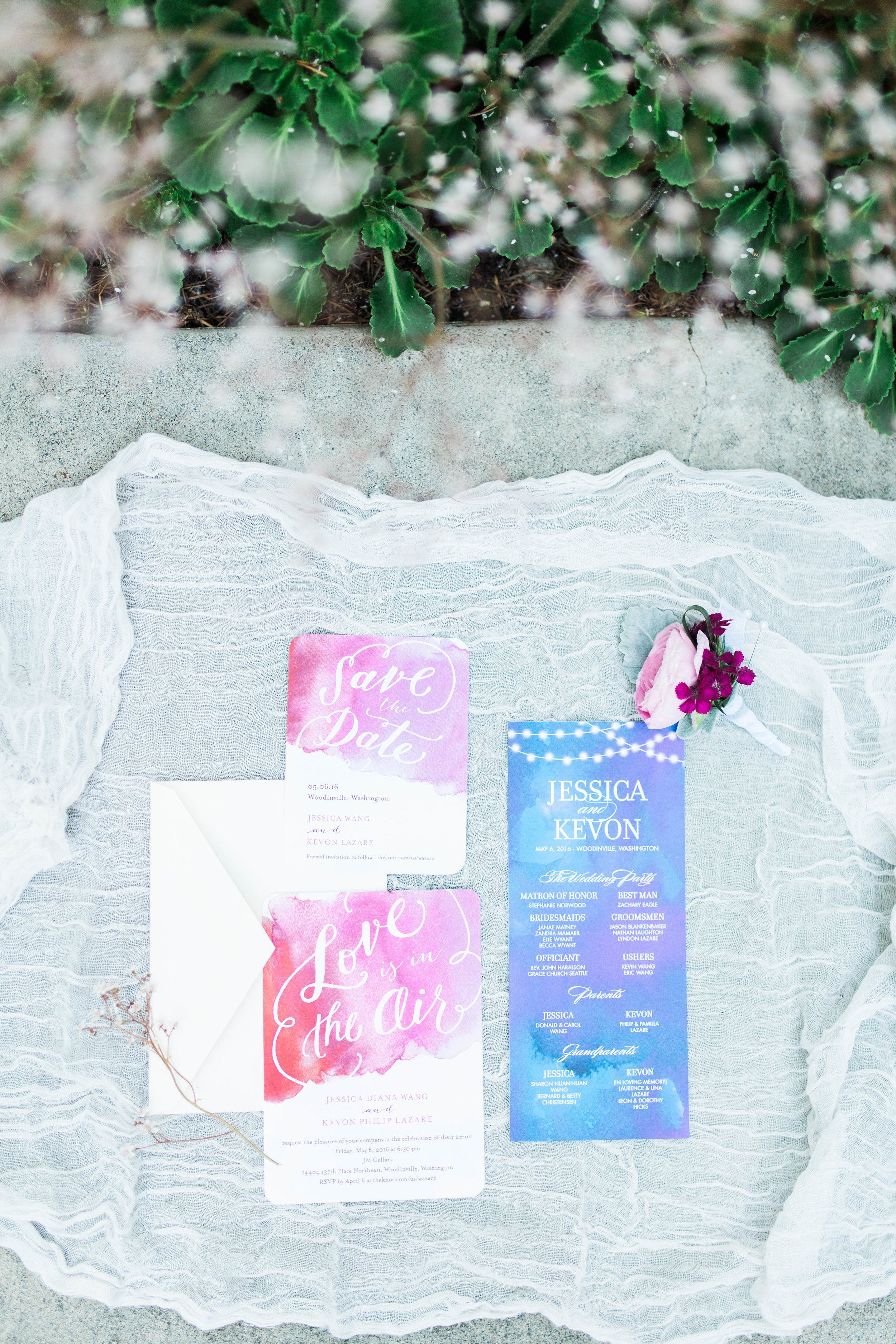 Wedding Planner Seattle | Wedding Wise | Kerry Jeanne Photography | JM Cellars Wedding | Tropical wedding invitation suite