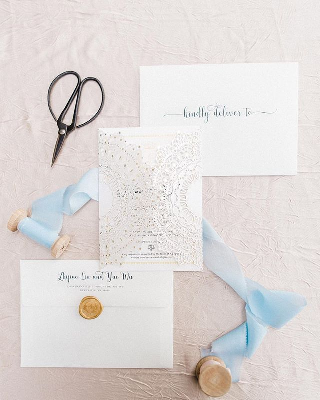 Laser cut invitations and custom monogram wax seals for the win! 💗 I love when clients ask for a WOW factor in their wedding design and I get to wow them with beautiful designs like these! P.S. Photographers, we bring a bag of styling goodies to every wedding to make sure your stationery shots are 💯! Photo :: @bjonesphotos  Invitation :: @bweddinginvitations  Custom wax seal :: @krisannaelizabeth  Ribbon :: @adorncompany . . . . . . #wedwithweddingwise2018 #weddingwise #seattleweddingplanner #seattlebride #seattleweddings #pnwbride #seattleweddingcoordinator #seattleengagement #seattlebridemag #ohwowyes #thedailywedding #designisinthedetails #realwedding #soloverly #pnwwedding #washingtonwedding #washingtonbride #northwestwedding #risingtidesociety #makeitblissful #thelittlethings #weddinginvitations #lasercutinvitations #elegantwedding #woodmarkhotelwedding