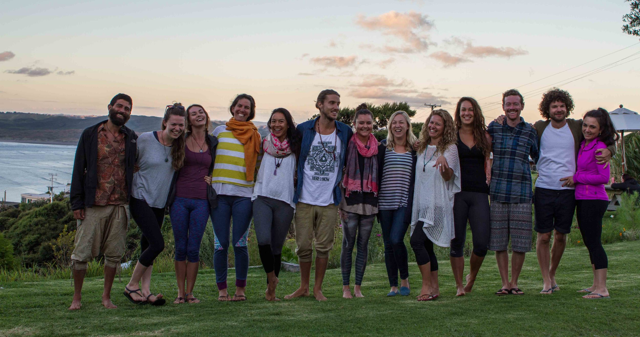 Group photo at the Solscape, Raglan Create Space Residential Retreat