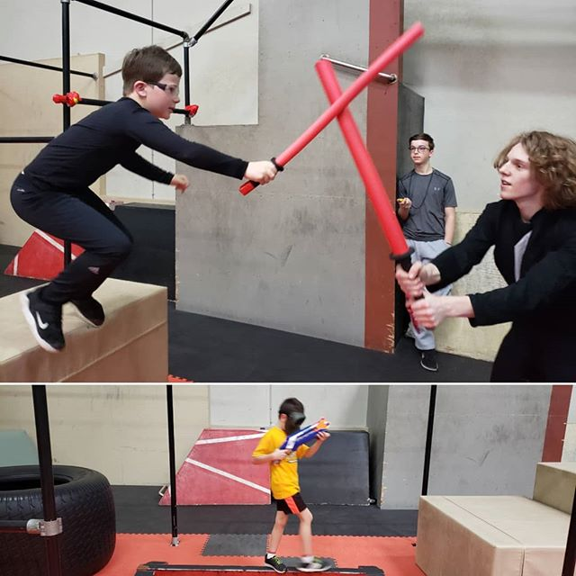 Jedi and Resistance Fighters in training! #revolutionparkour #parkourcamp #springbreak