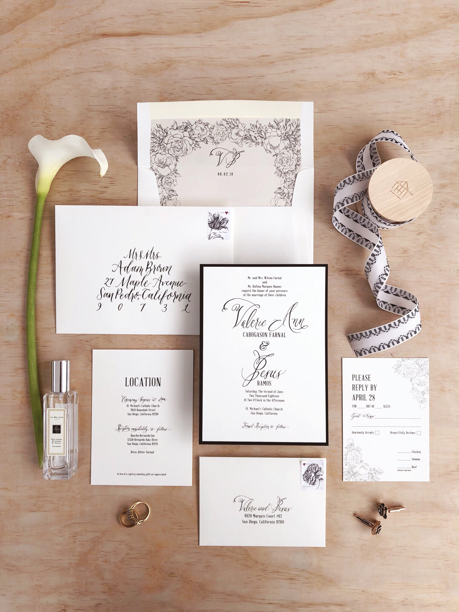 Classy Black and White Calligraphy Wedding Invitation.JPG