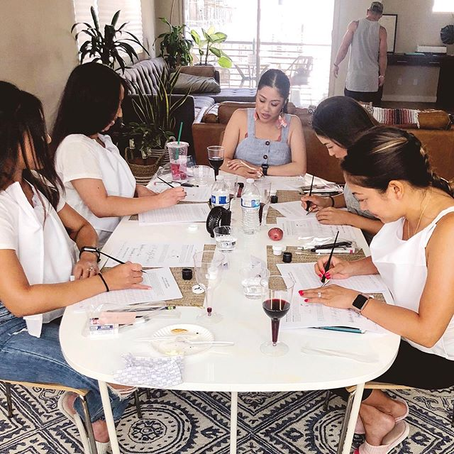 Shoutout to my very first students! 💖 Taught my first private in-home calligraphy workshop this past weekend. I enjoyed it so much that I'm now going to start offering these intimate lessons for now on 🤗 ____ Gather up your friends and learn a new skill together. It's a perfect bonding experience for team building, girls day, bridal shower, bachelorette activity, slumber party, birthday party, etc. ____ I'll be adding it as a service on my website soon, but in the meantime, send me an email if you're interested in scheduling one or have any questions: 📧 email@terricaolopez.com Can't wait to teach you and your peeps! 😉 #madebyterri #terricaolligraphy #calligraphyworkshop #privatelesson • • • #calligraphy #lettering #learncalligraphy #moderncalligraphy #calligraphypractice #practicelettering #practicecalligraphy #learnsomethingnew #neverstoplearning #skillshare #qualitytime #weddingprep #intimateparties #bridalshower #bridetride #airbnbexperiences #sandiegocalligrapher #sandiegocalligraphy #livecalligraphy #calligraphyworkshops