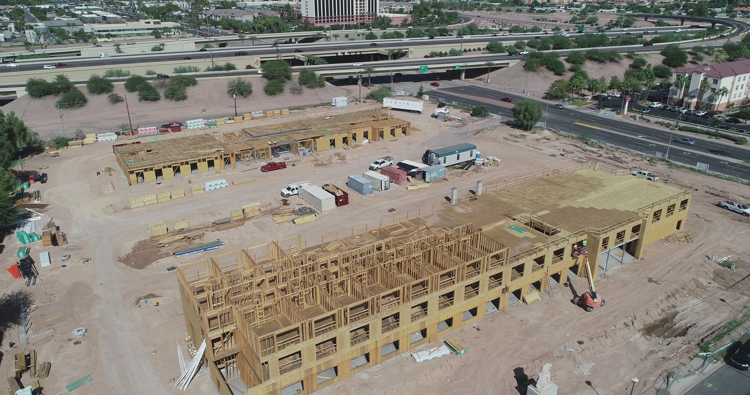 Front: The Future Holiday Inn Express Phoenix Airport North  Back: The Future Home2 Suites by Hilton Phoenix Airport