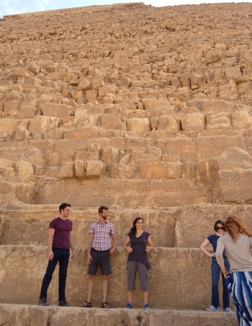 The crew preparing to pose for our epic handstand photo! (that's a pyramid we're standing on)
