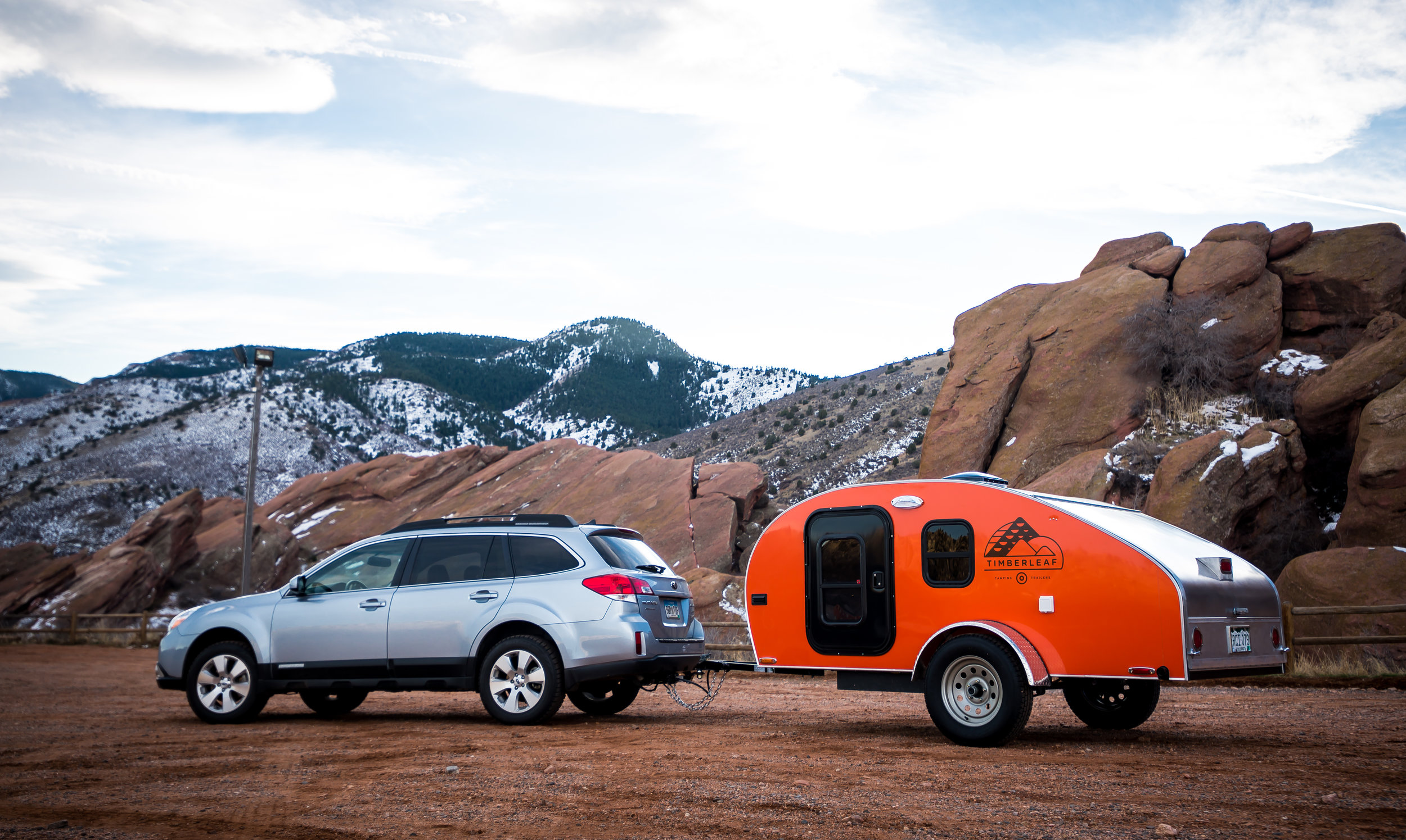 Timberleaf Teardrop Trailer behind a Subaru Outback