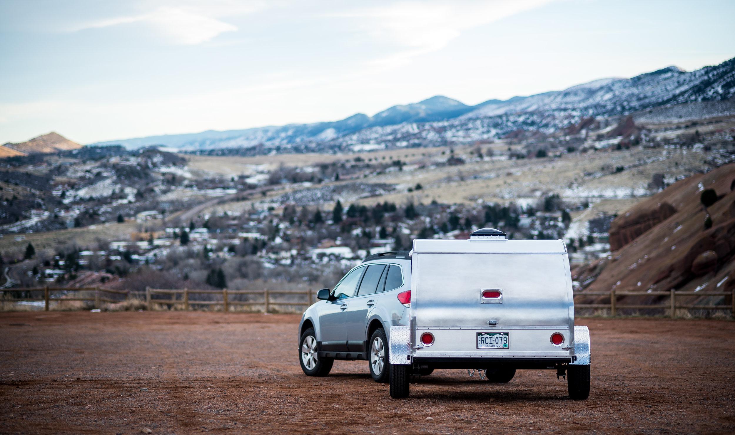 Timberleaf Teardrop Classic Trailer behind a Subaru Outback