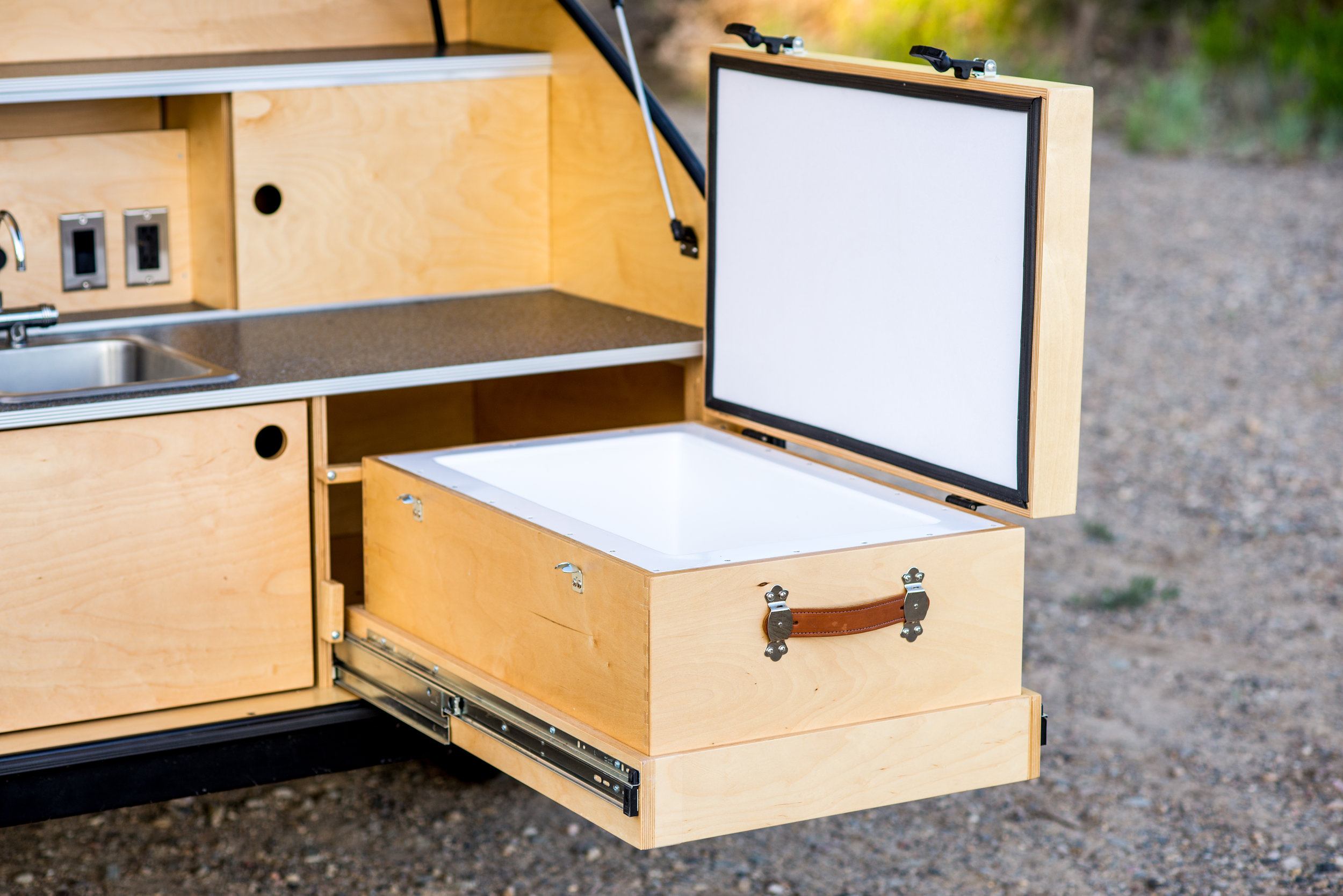 Custom made cooler for teardrop trailer.