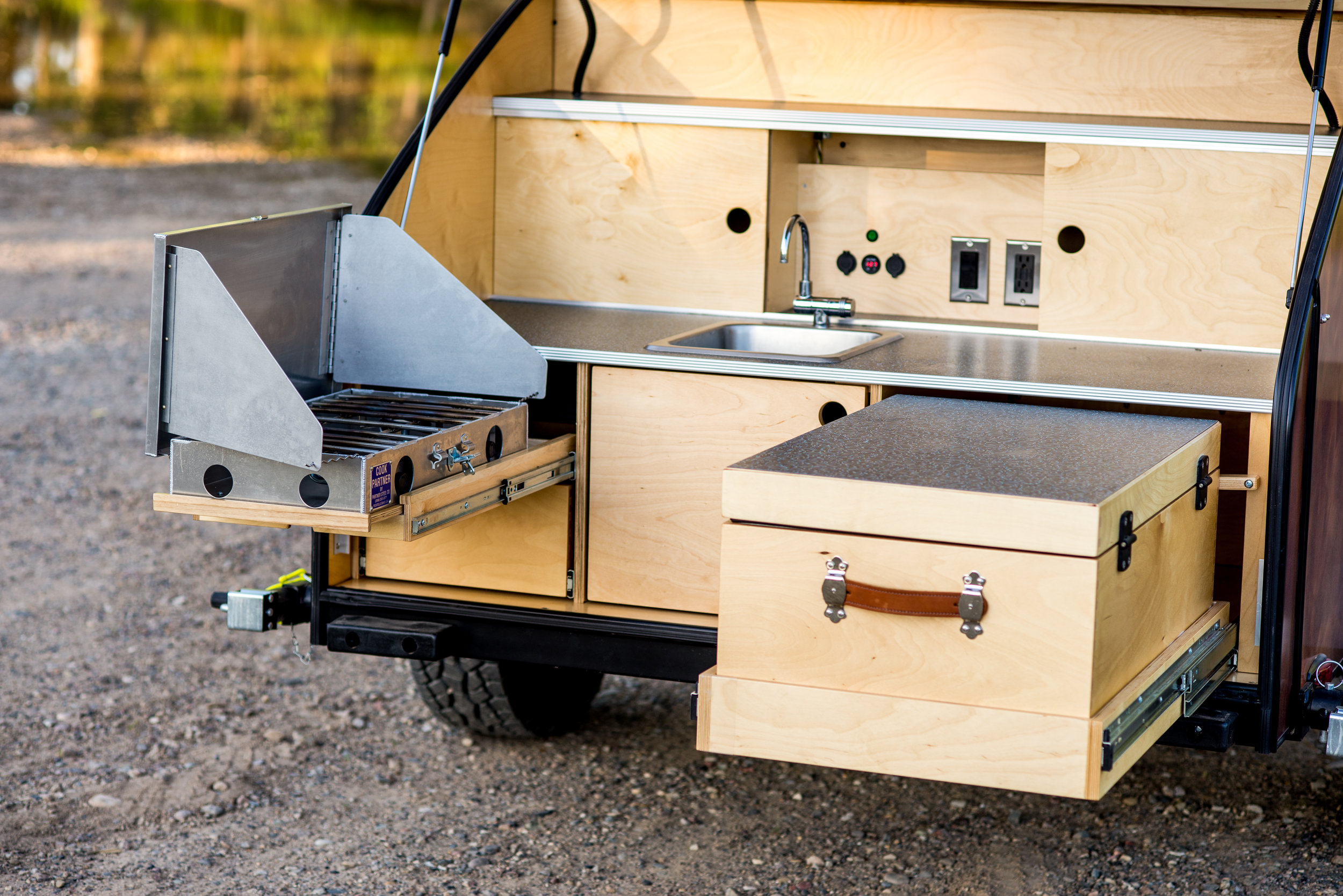 Fully equipped galley in our teardrop trailer allows off-grid gourmet.