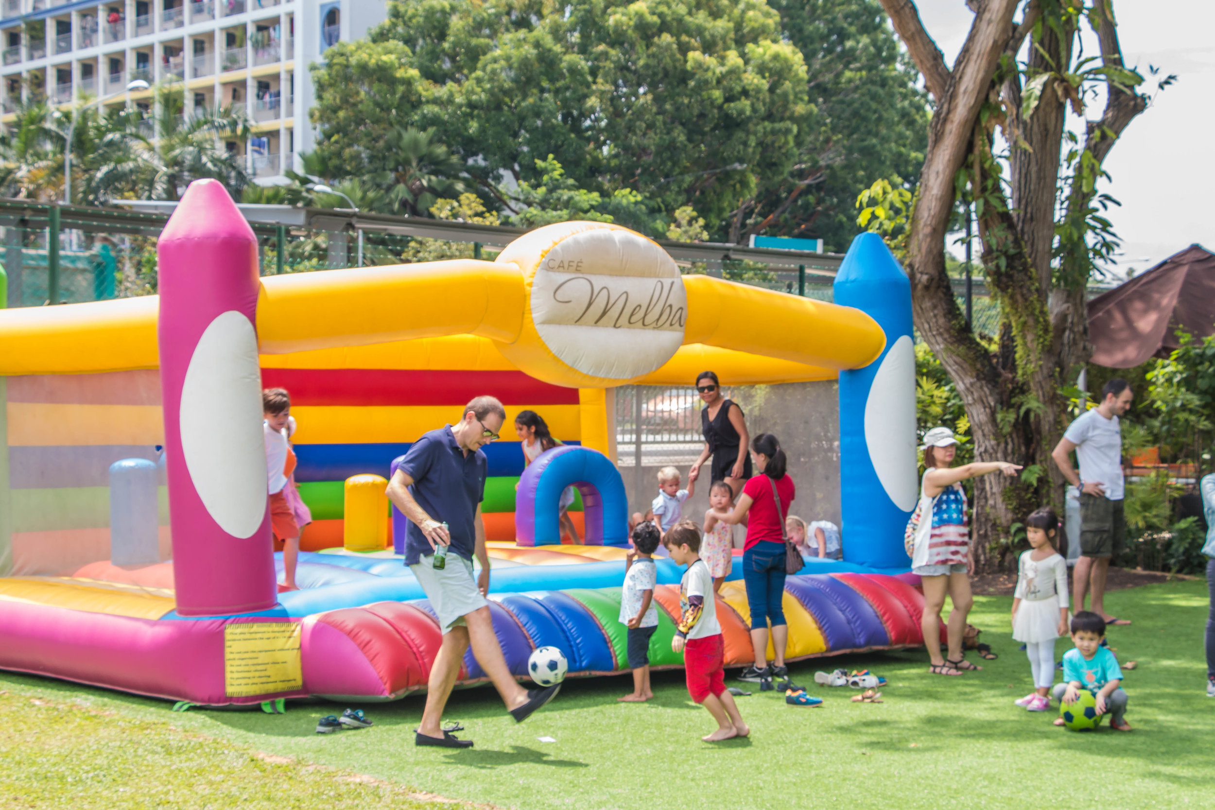 Bouncy castle at Cafe Melba Goodman Arts Centre