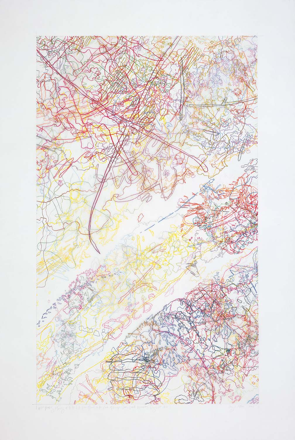 #229 Drawing (Tracings up to the L.A. River placed in the Clark Telescope Dome, Lowell Observatory, Flagstaff, AZ)