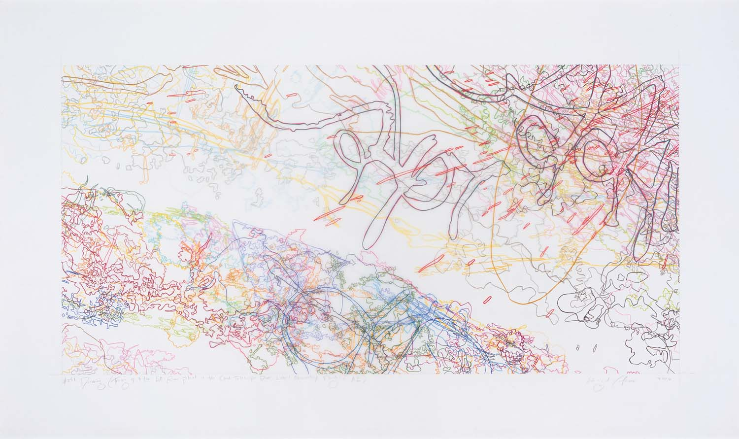 #231 Drawing (Tracings up to the L.A. River placed in the Clark Telescope Dome,  Lowell Observatory, Flagstaff, AZ)