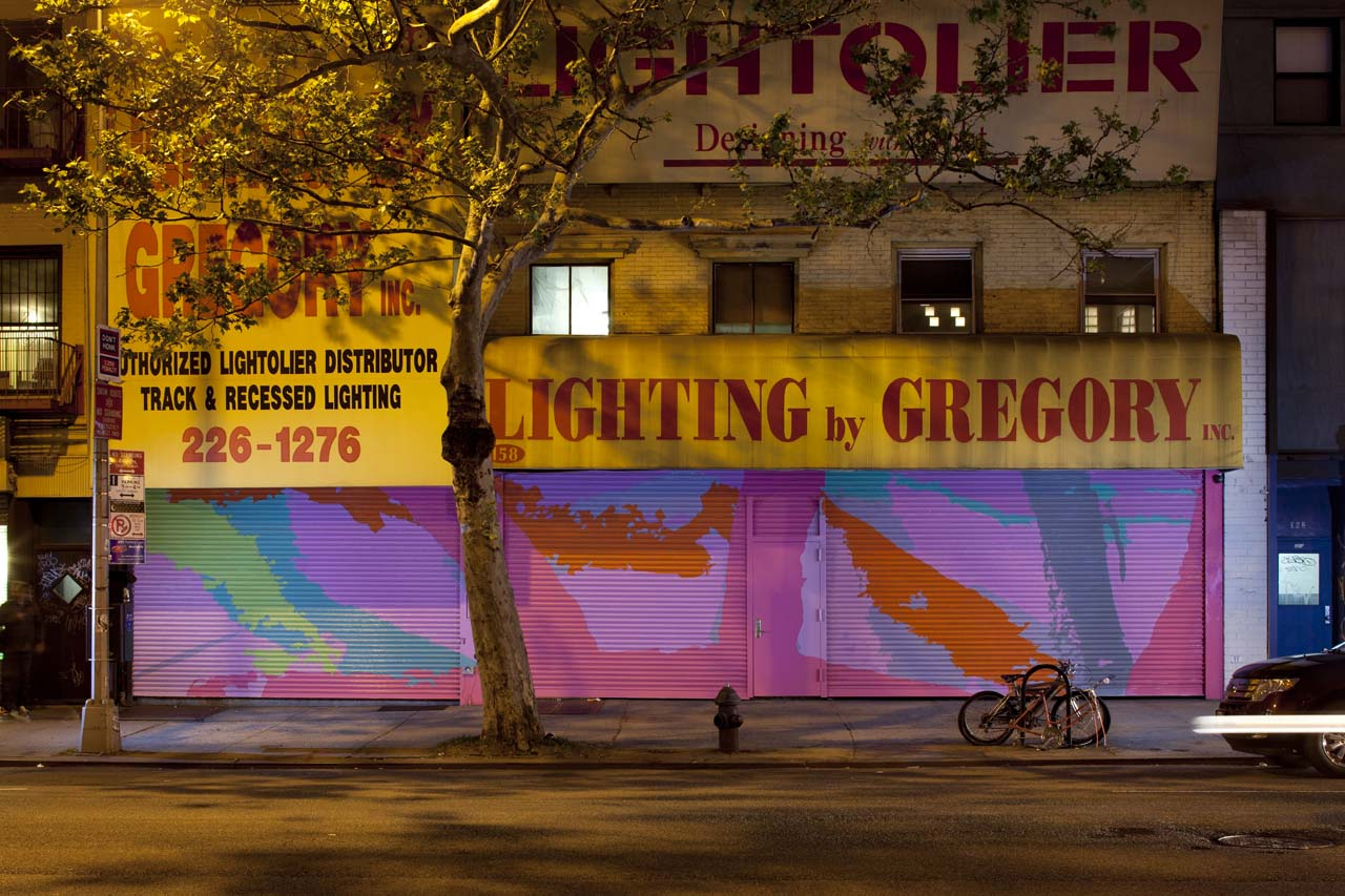 """Step on A Crack"" installed by Art Production Fund in ""After Hours Roll up Doors on the Bowery,"" New York, NY, 2011"