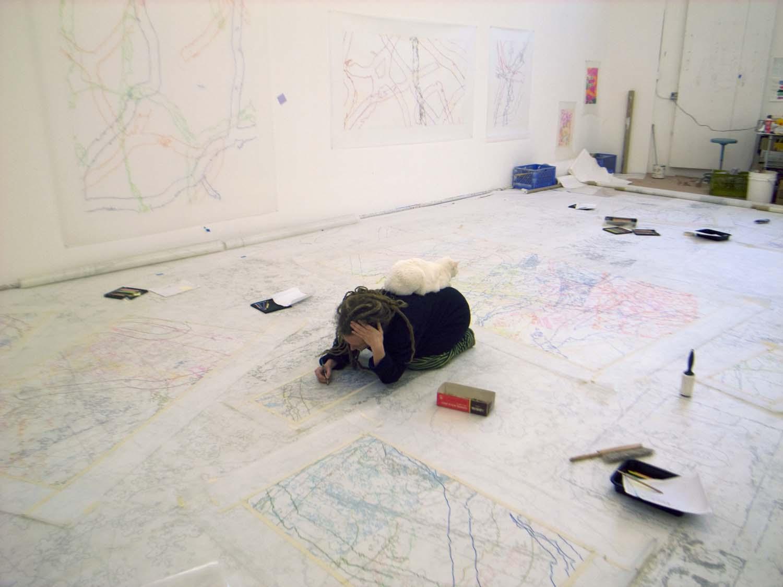 Ingrid Calame and Sula drawing, 2007