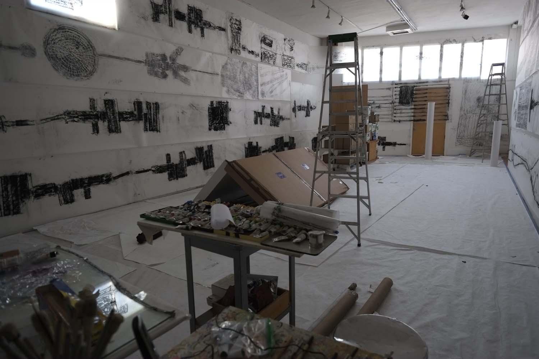 Leimert Park rubbings in studio, 2016