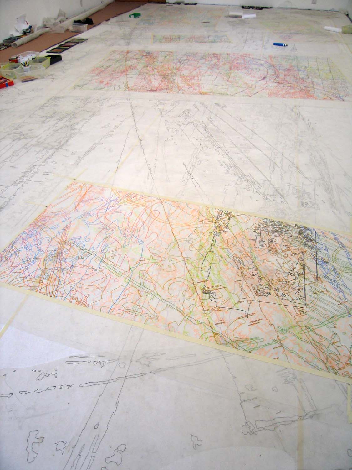 Color pencil drawings in process, 2007
