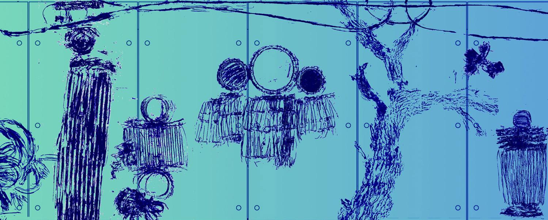 """Talking Drums"" Model of Leimert Park subway station. Detail"