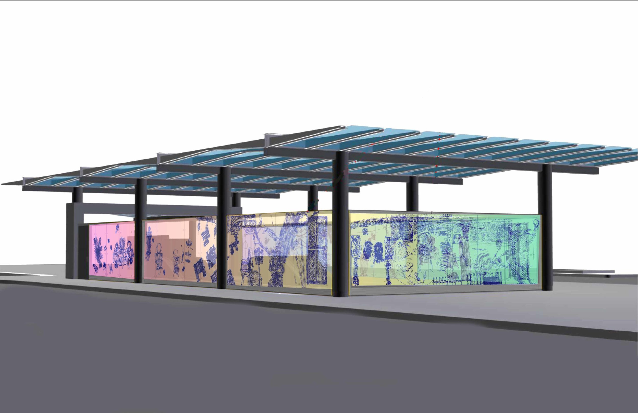 """Talking Drums"", design for Metro Art: Leimert Park Subway station, L.A., view from left"