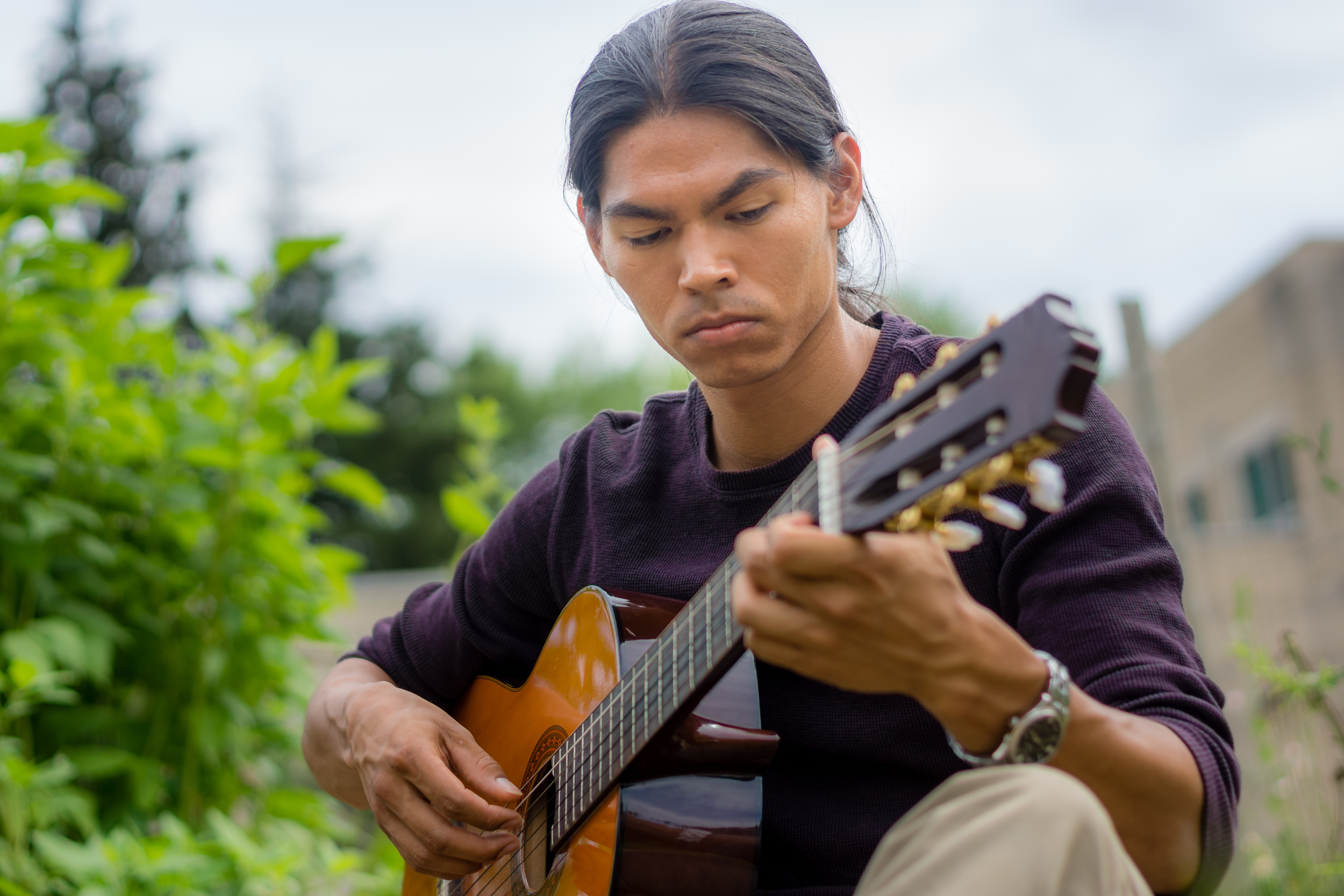 Playing music in the garden - one of my favourites.