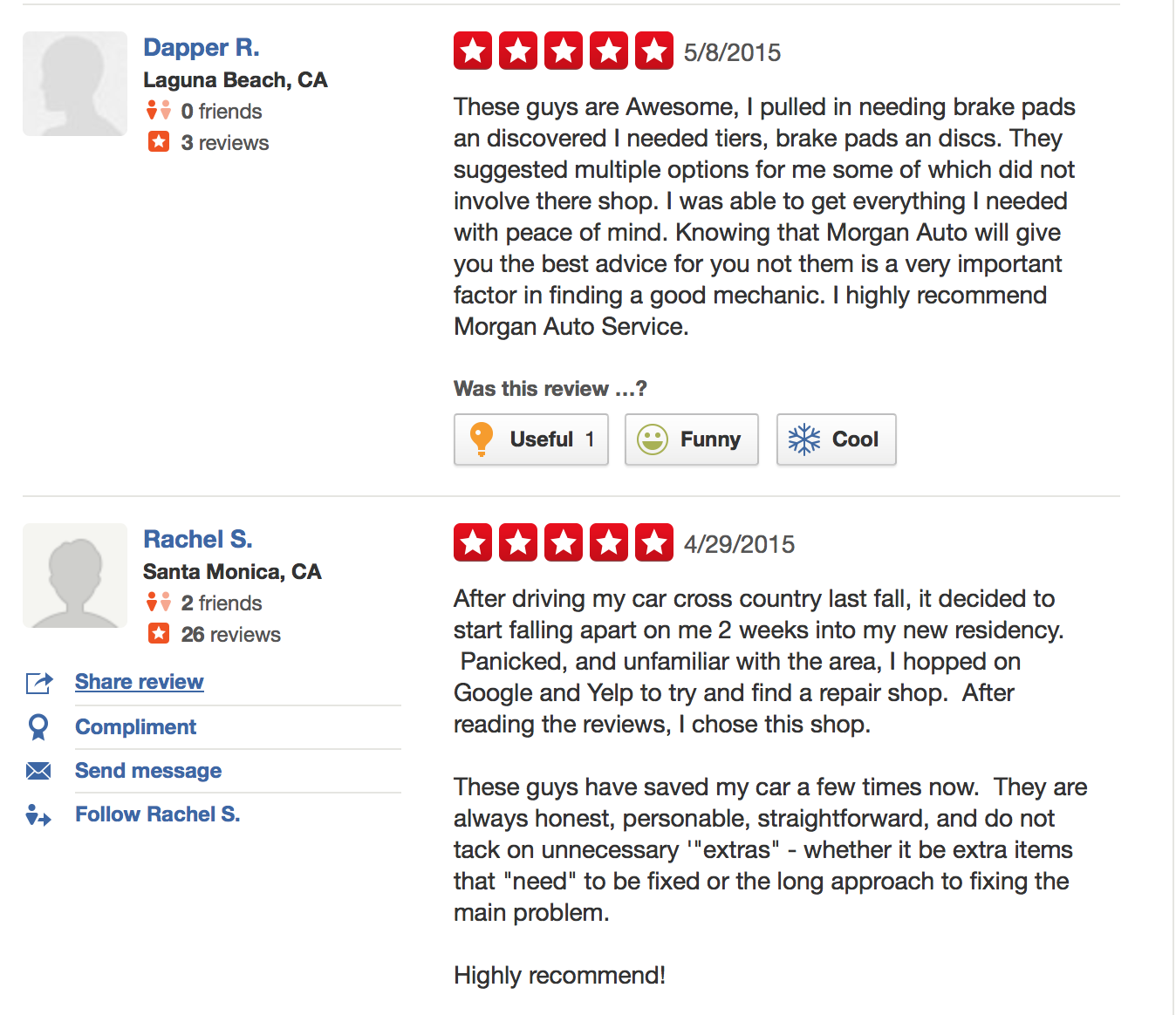 TWO OUT OF MANY WONDROUS REVIEWS ON YELP...THANK YOU TO OUR DEDICATED CUSTOMERS WHO SUPPORT US, REFER FRIENDS & FAMILY, &  KEEPING COMING BACK!