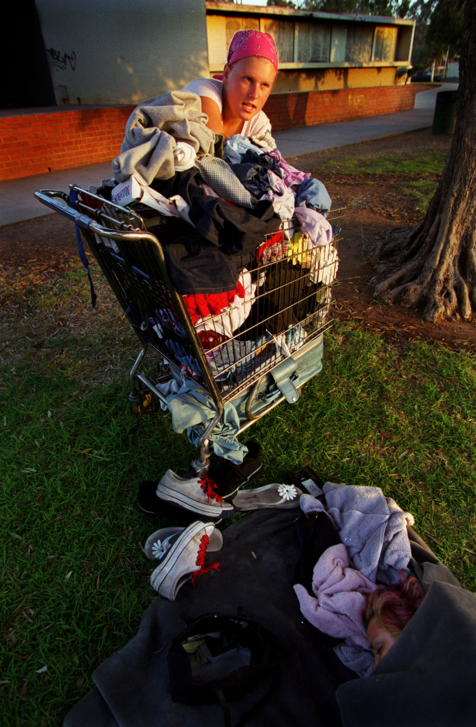 """I have nothing but the clothes that I own. That's about it, that's all I own is a cart with my clothes in it and like a couple of pictures and that's about it... But what can I do? It's just a big mess, "" says Janea. ©Gail Fisher Los Angeles Times"