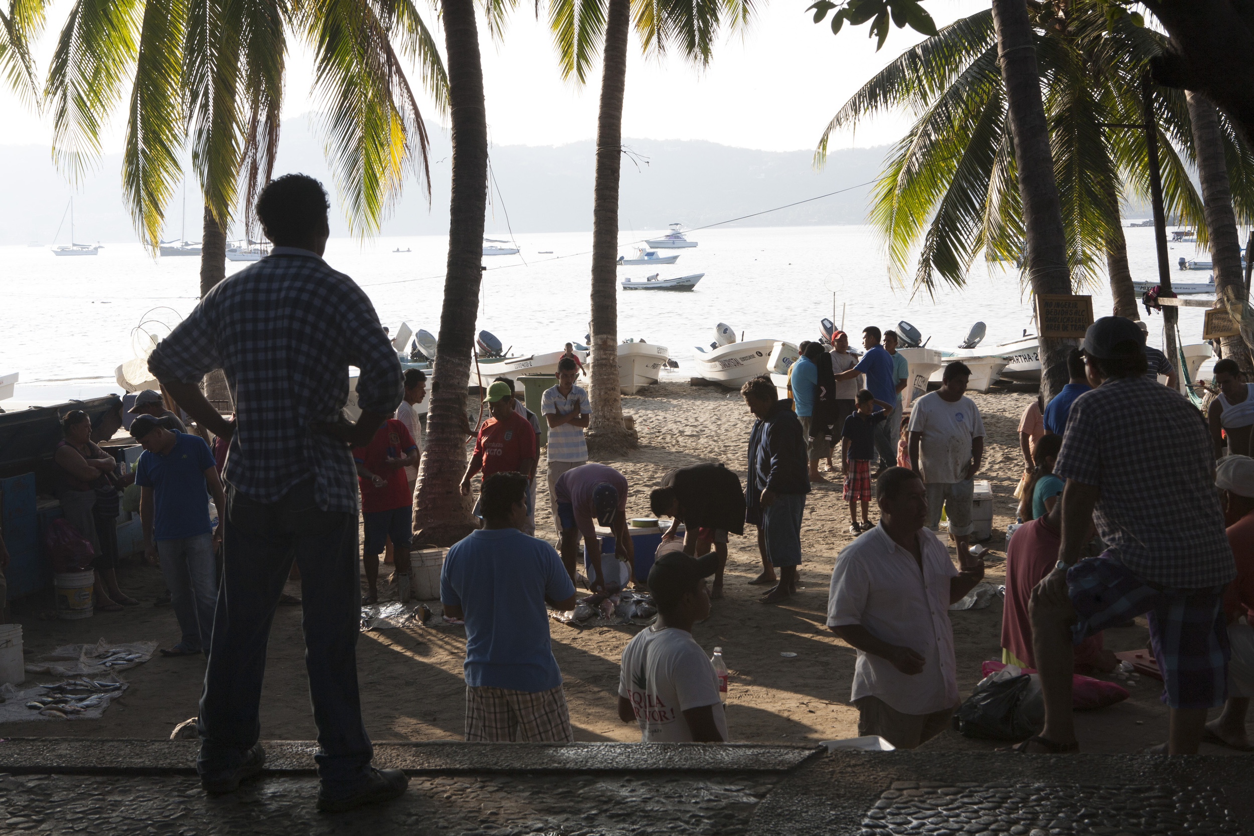 Visitors can enjoy the natural charms of the local fishing scene in the mornings at Playa Principal where the beach in Zihua turns into a lively market. ©Gail Fisher