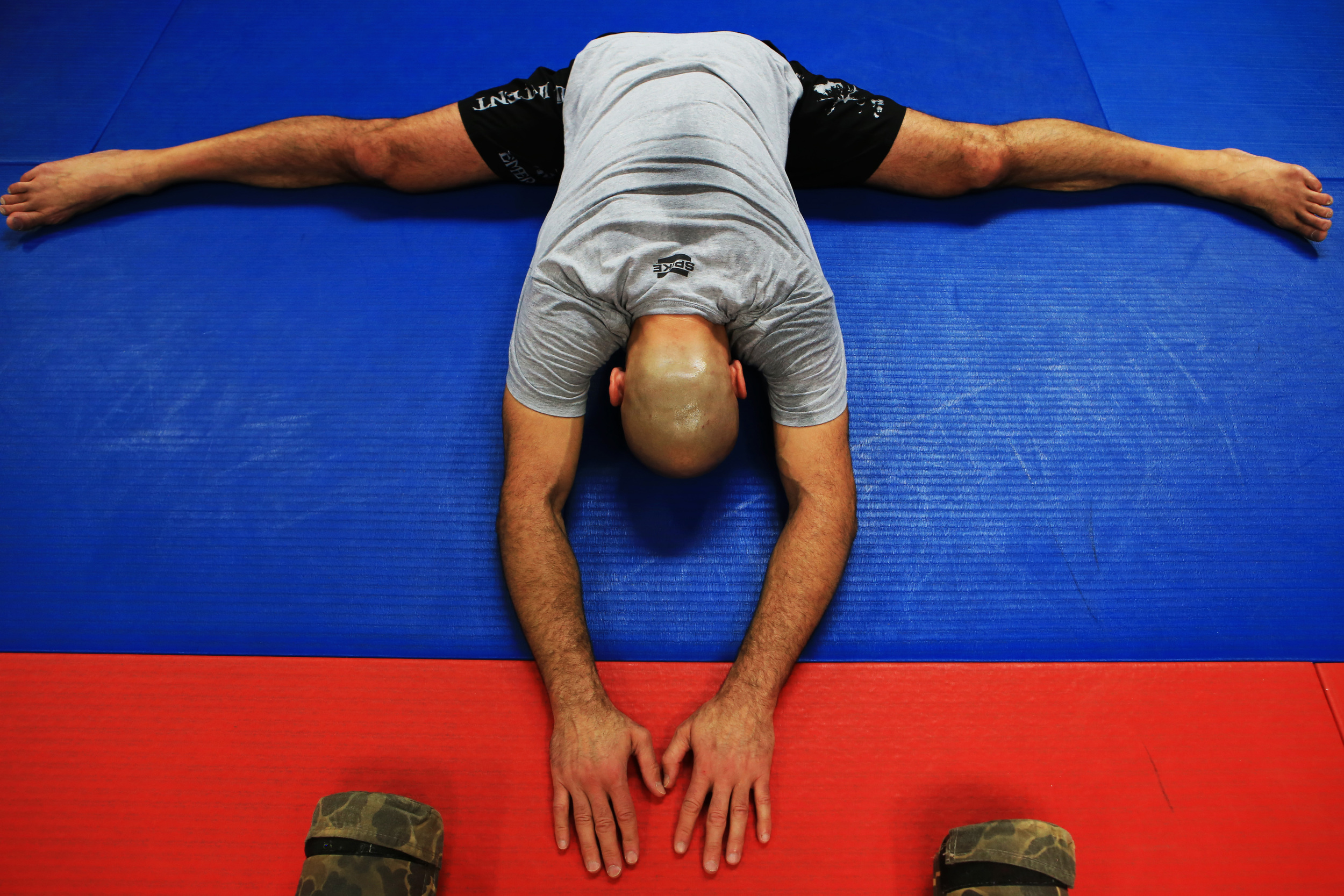 Looking to shake off the rust of more than eight years, Gracie spends time at his gym stretching out his body in preparation for his bout with Shamrock. Like their first two meetings in the days before weight classes in the UFC, Friday's bout at Bellator 149 will be contested at open weight, with Shamrock expected to enter with a significant weight advantage. (©Gail Fisher for ESPN)