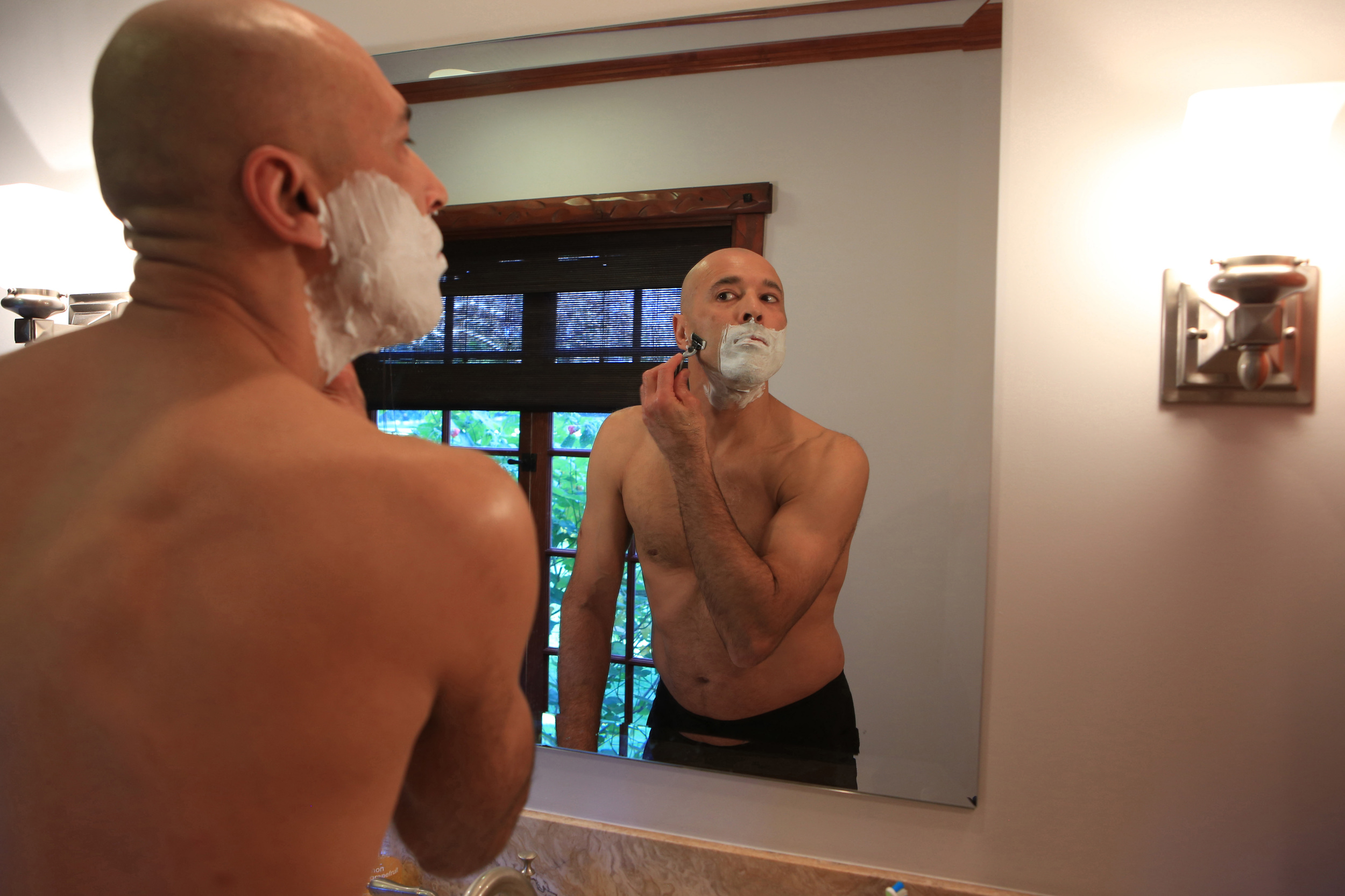 Early morning rituals start at 7am for 49-year-old Gracie, the UFC legend, with shaving and taking his daughter to school before starting a rigorous training schedule. (©Gail Fisher for ESPN)