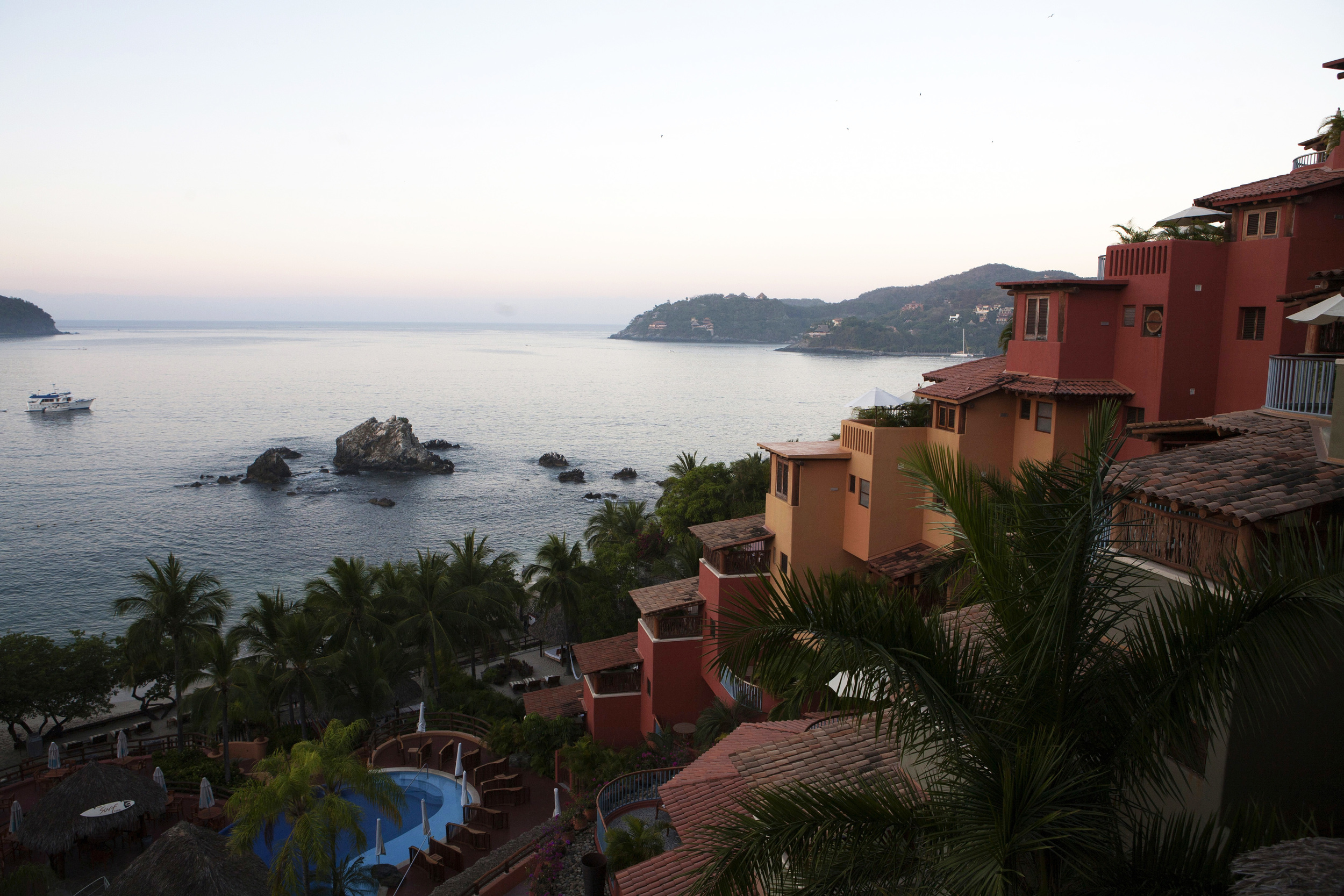 Perched on a hillside, Club Intrawest overlooks Zihuatanejo Bay,  famed for it's fishing village and the beach in the 1994 film Shawshank Redemption that Tim Robbins dreamed of escaping to in Mexico.  ©Gail Fisher