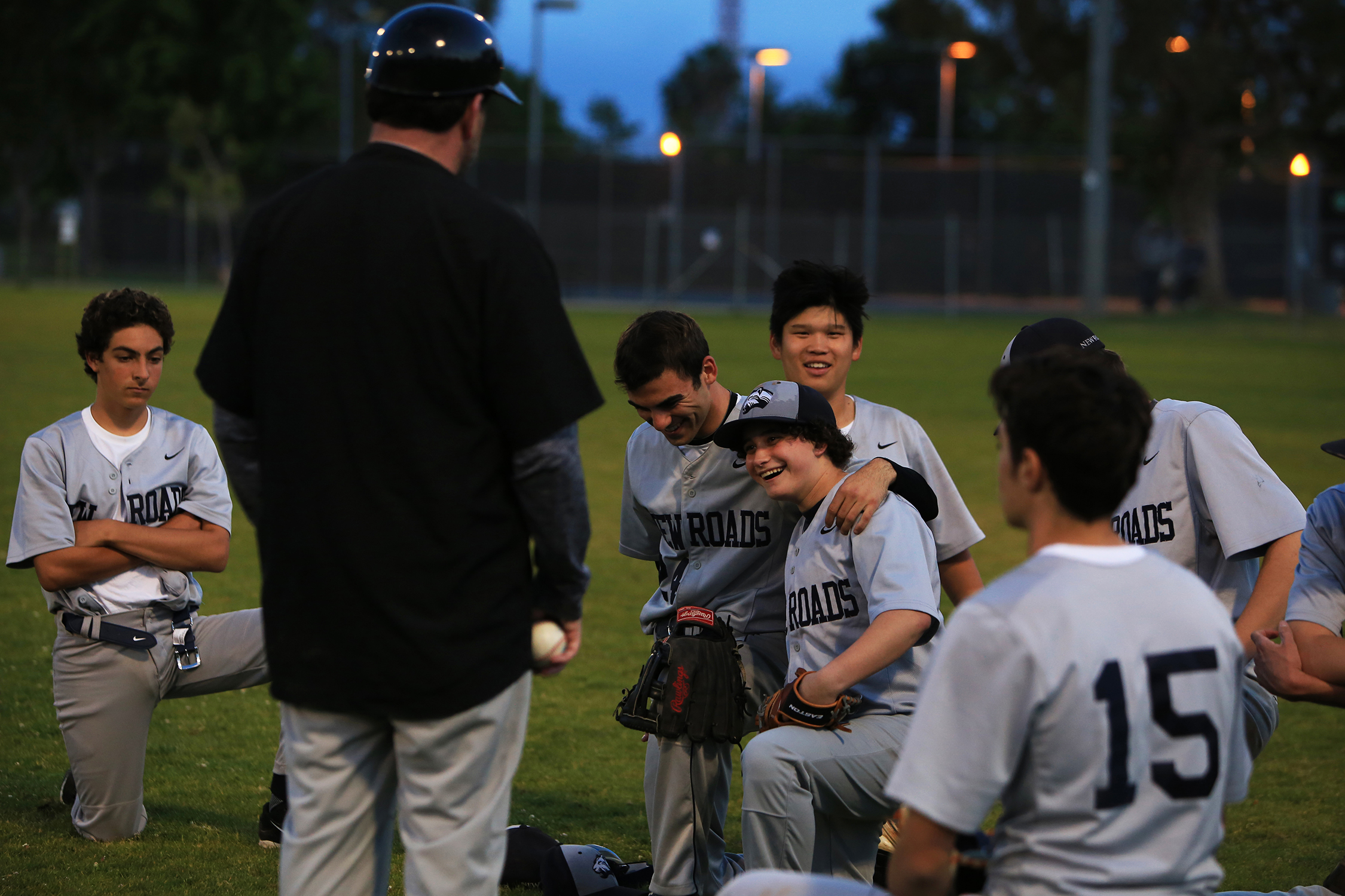 """After struggling in middle school to belong, Hofheimer, center, has found a home with his team. """"I have the baseball team, I have my friends whom I hang out with on a regular basis. I'm friends with a fair amount of people now, I think.""""© Gail Fisher for ESPN"""